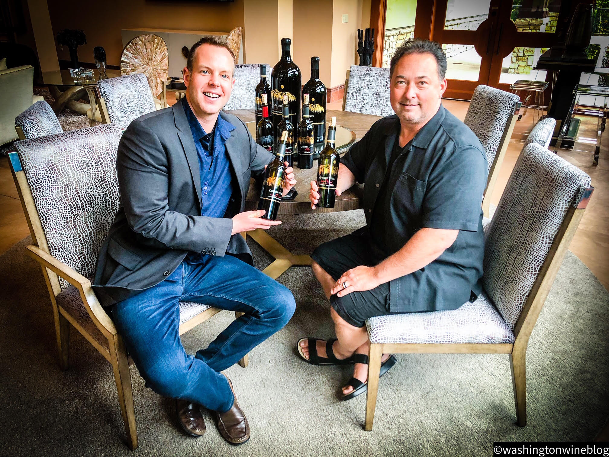 It was a glorious Friday afternoon tasting through the new lineup of Quilceda Creek wines with superstar winemaker Paul Golitzin (R).