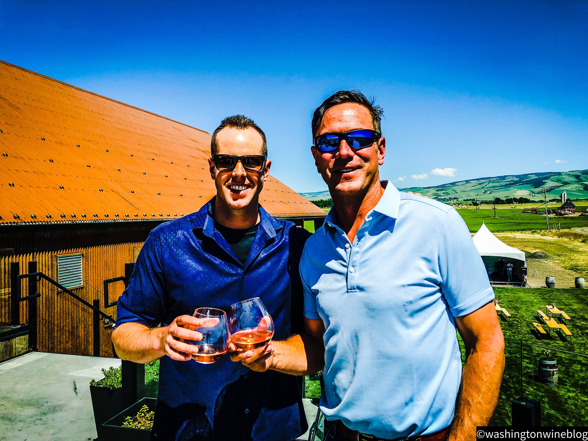 Here I am pictured with Doubleback owner, Drew Bledsoe, from his beautiful rooftop setting at Doubleback winery.