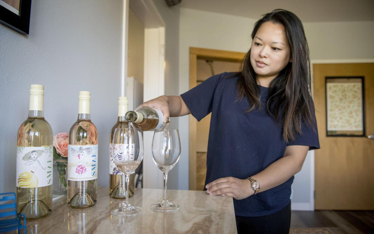 Great photo here of Fiona Mak pouring her Smak Wines lineup.