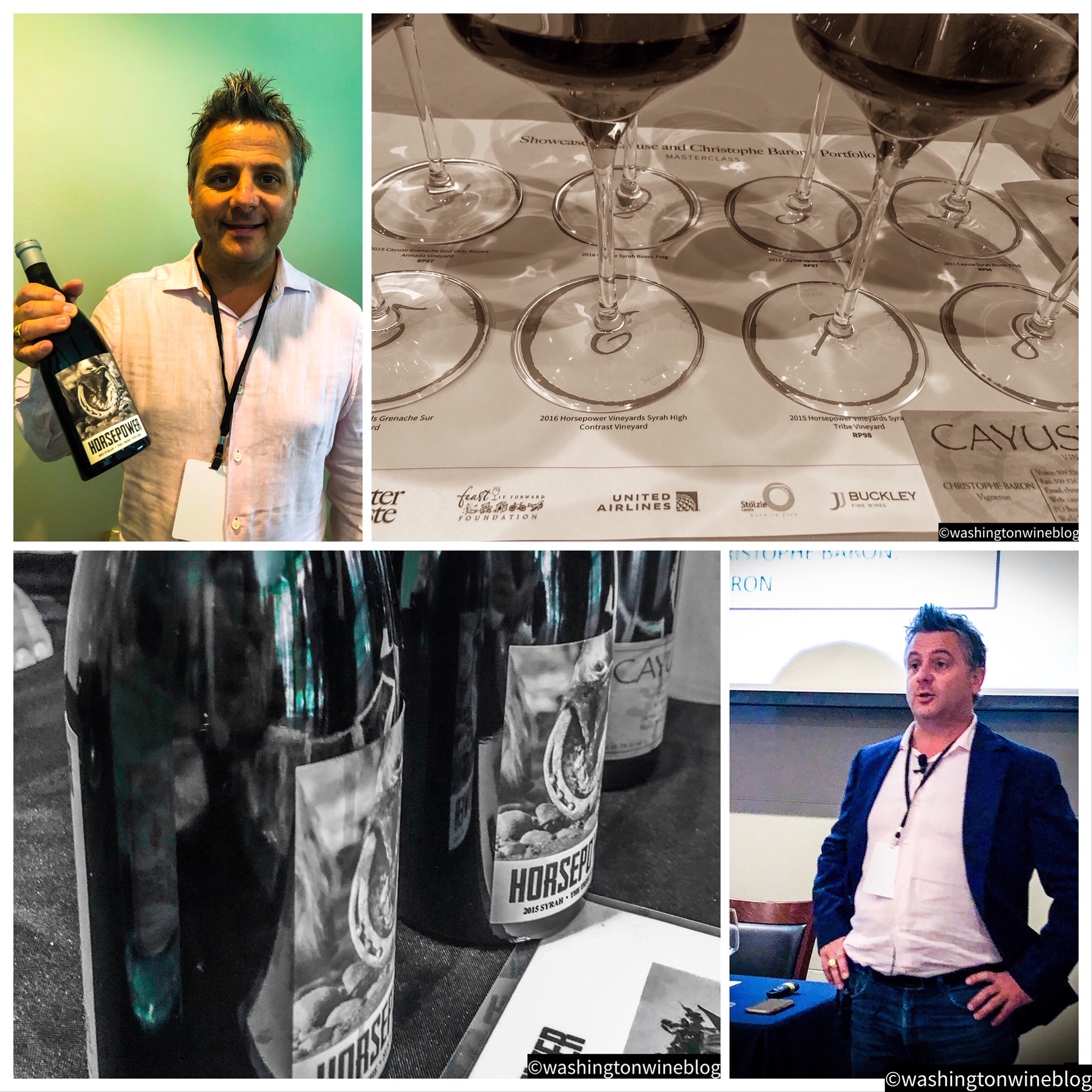 Superstar vigneron, Christophe Baron, guided us on an extraordinary adventure into Cayuse and Horsepower wines from the 2011, 2013, 2014, 2015 and 2015 vintages.