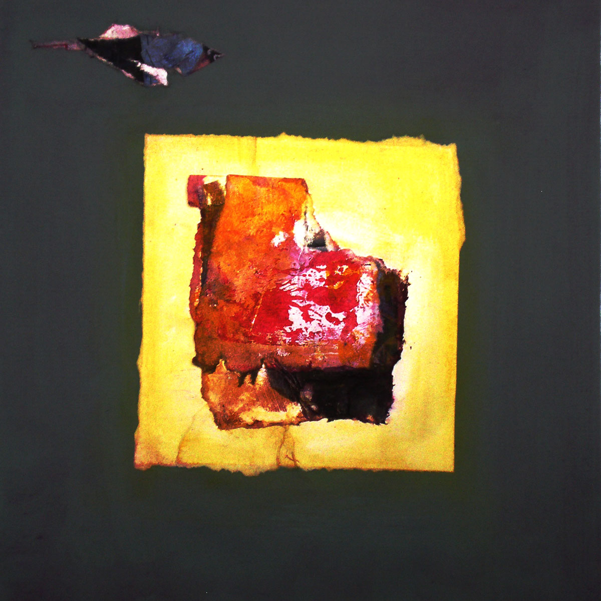 "Little Bird,  2014, digital print, monotype and collage., 12"" x 12"" (30cm x 30cm), Private Collection, Paris, France"