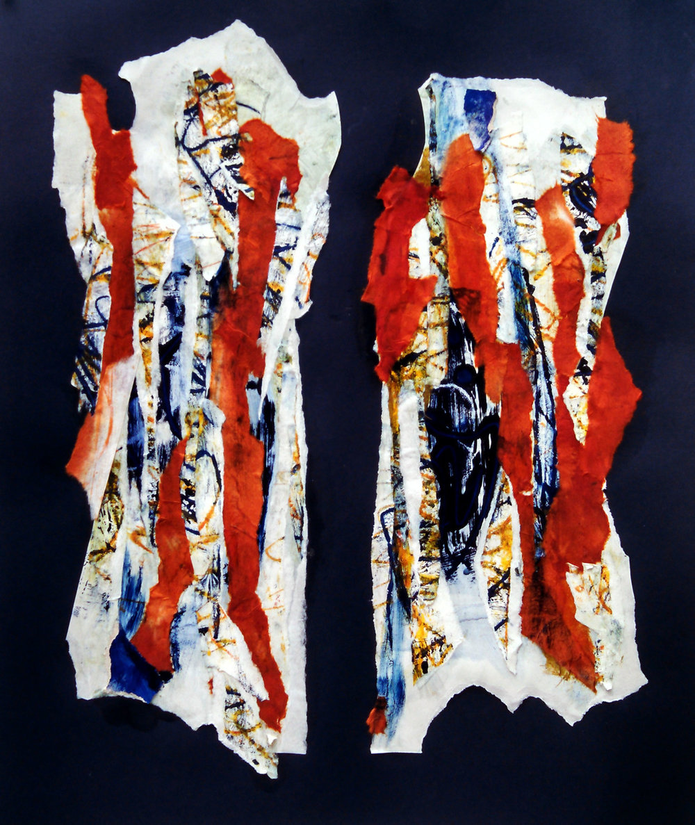"Leaf Chromosomes No. 2,  2015 monotype, collage, 18"" x 24"" (46cm x 61cm), private collection, Rochester, New York"