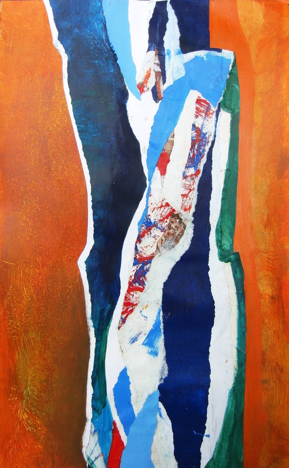 "Iris Bud Sunrise,  2014,   monotype, collage, 18"" x 24"" (46cm x 61cm)"