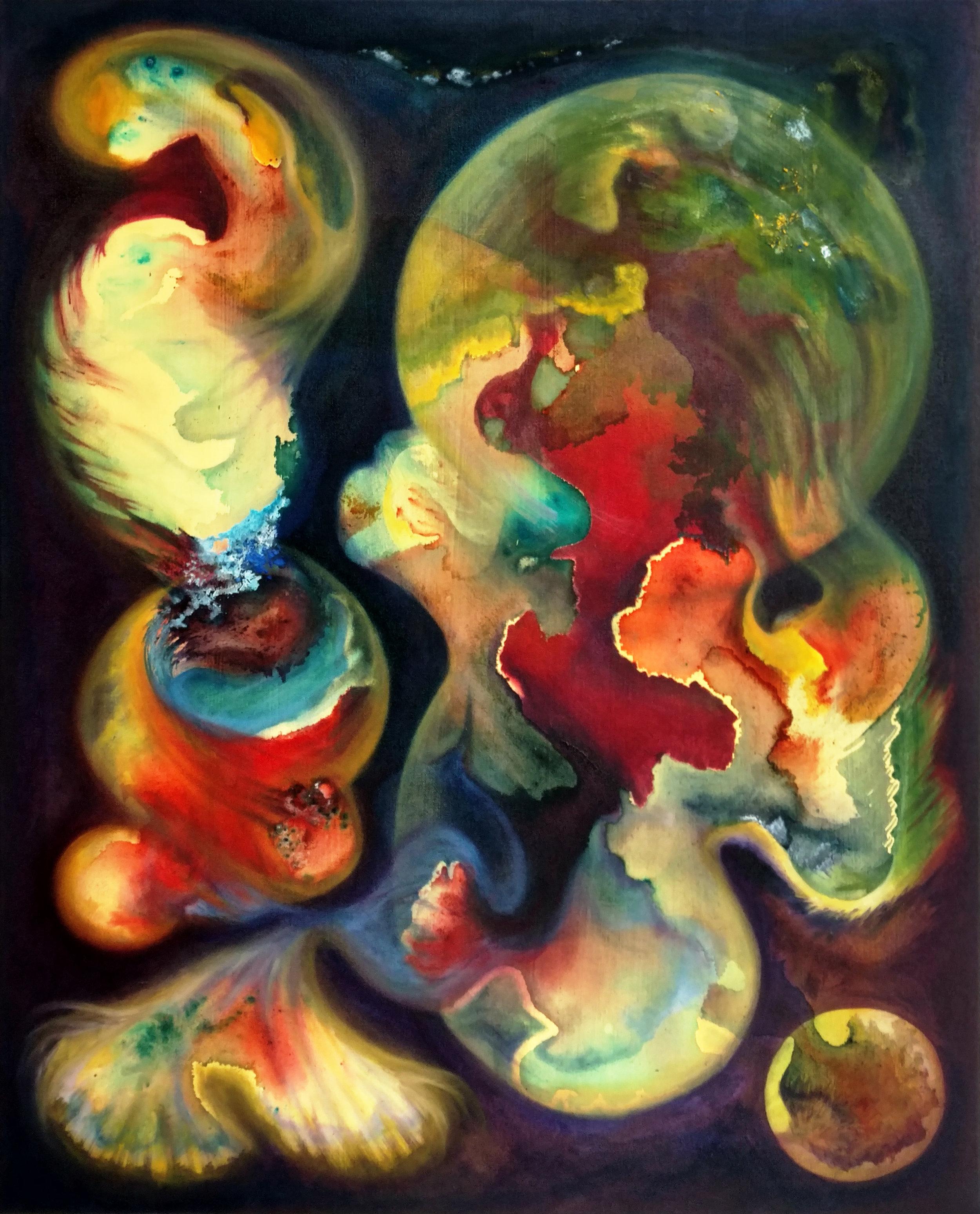 Universe,  2016. oil paint and sparkling wine on canvas, 81 x 100cm, Private collection, Paris, France