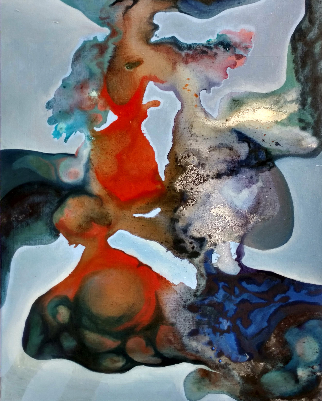 Winter,  2016. oil paint and sparkling wine on canvas, 55cm x 72cm, Private collection, Paris, France