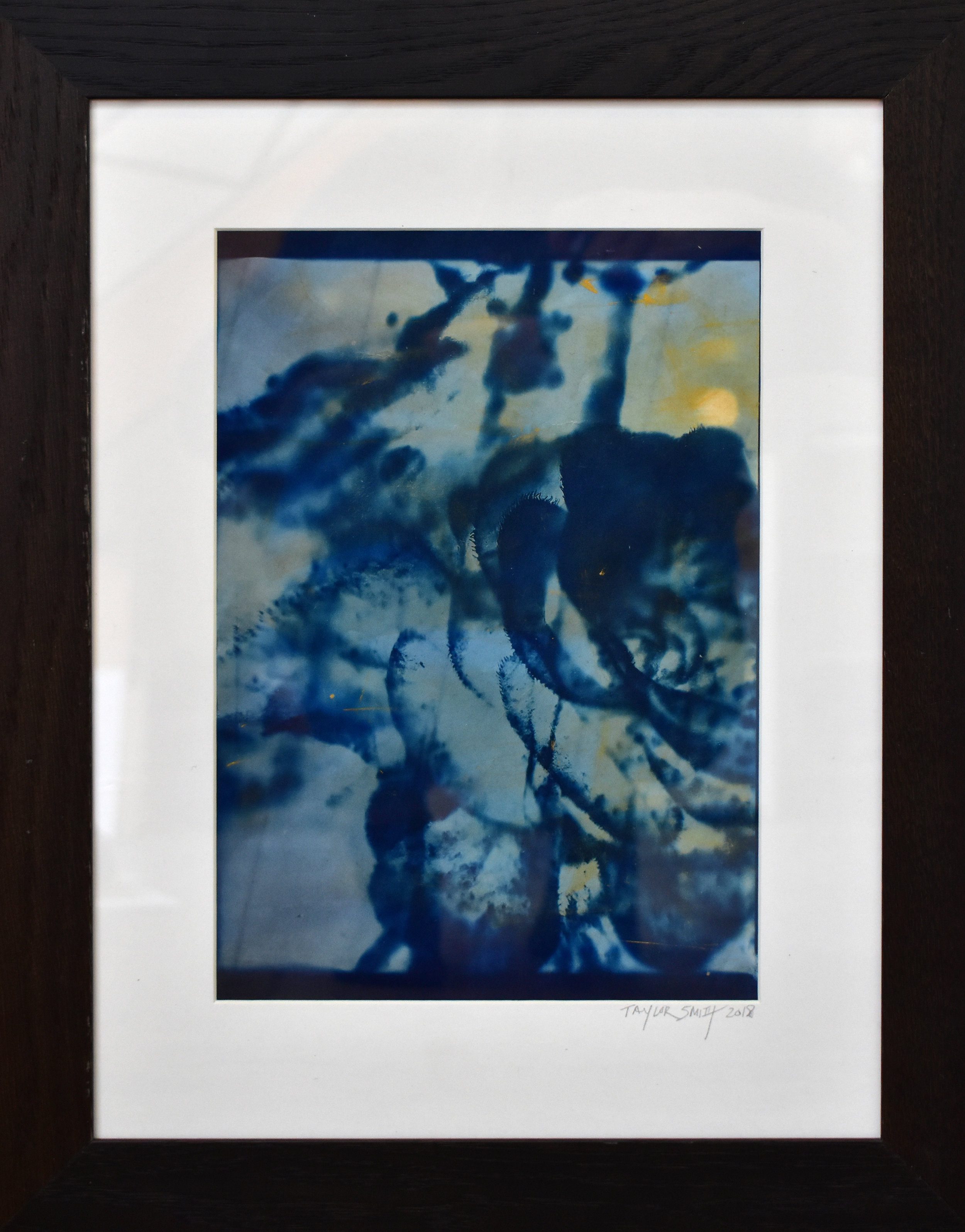 Study No. 1 (succulent bloom),  2018. Cyanotype made with yellow cadmium pigment, from a superposition of a microscopic photograph of an abalone shell collected in Sintra, Portugal, and macroscopique photograph of a cactus flower (Madrid Botanical Garden), both taken by the artist. Printed on Japanese paper, Private collection, Paris, France