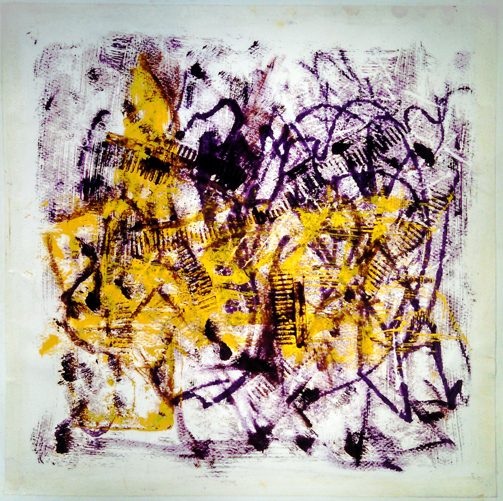 "Accordion lines,  2014, monotype (oil transfer), 12"" x 12"" (30cm x 30cm)"