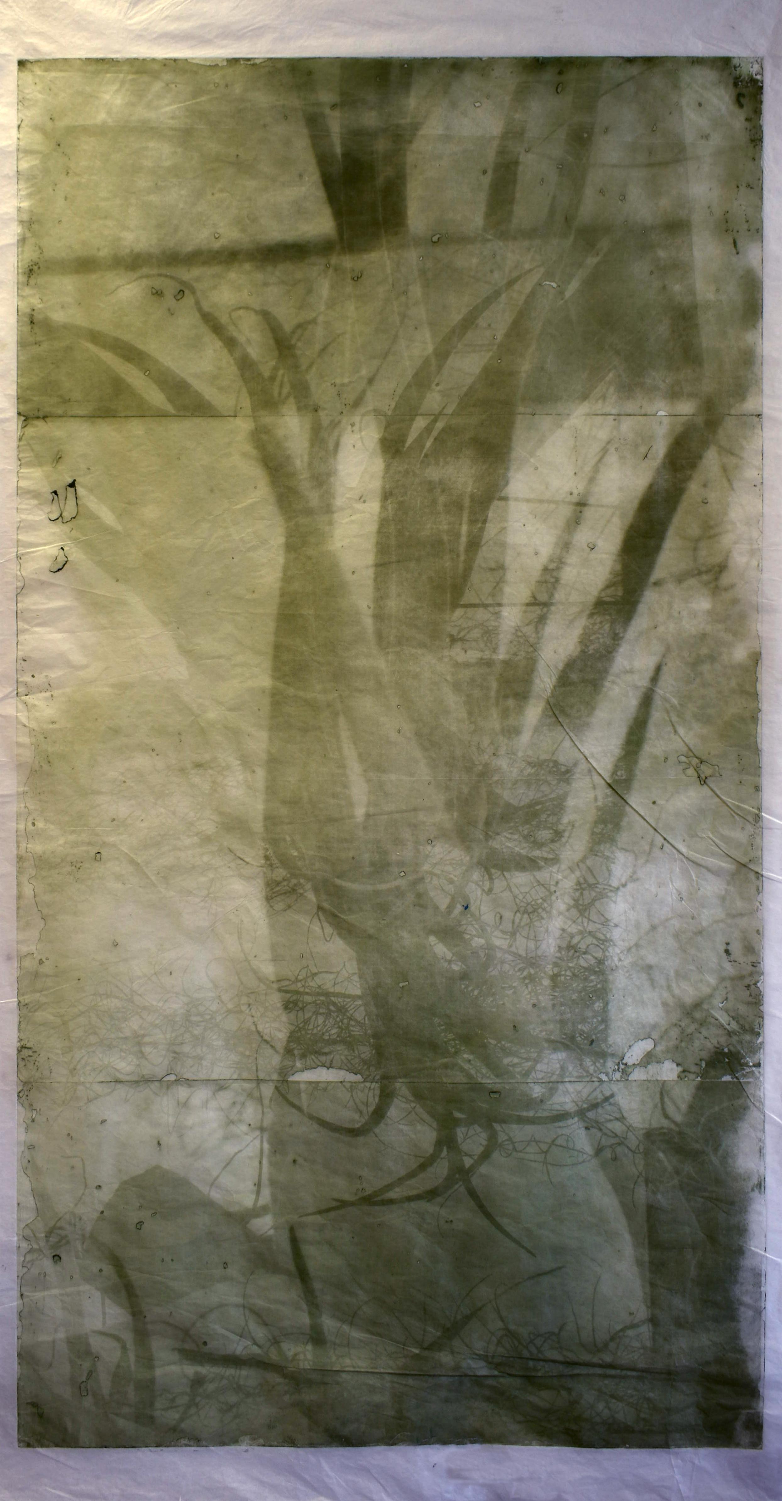 Interlaced, No. 1  2019,   series of 6 photopolymer prints on Korean semi-transparent long fiber paper, 74cm x 141cm each.