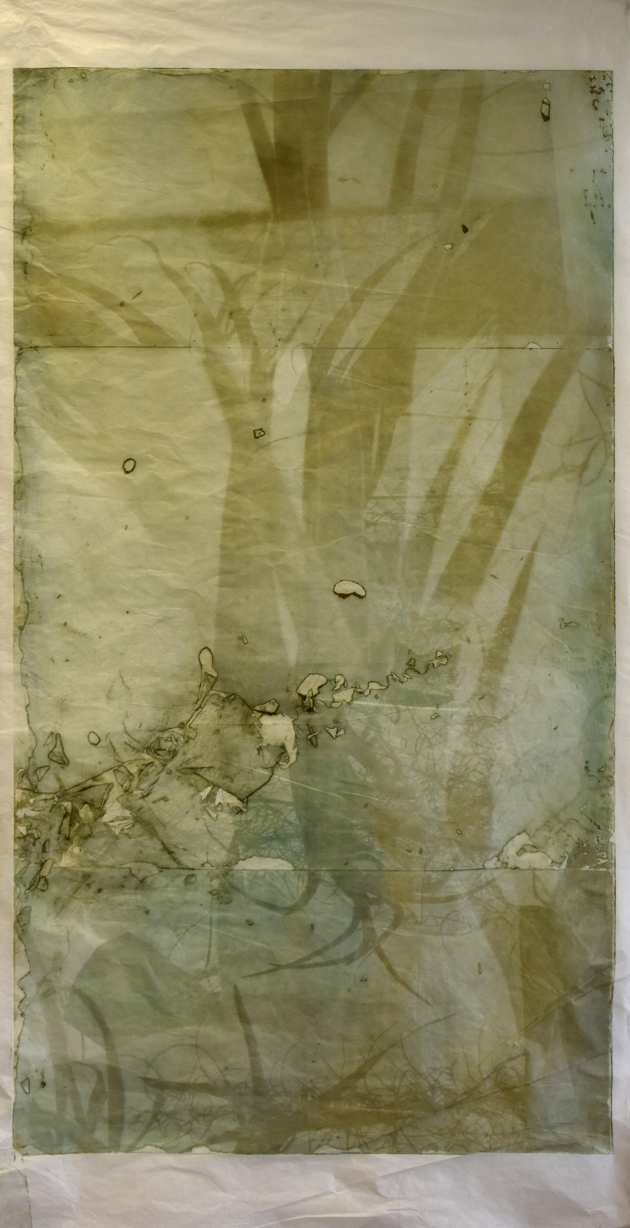 Interlaced, No. 5,  2019,   series of 6 photopolymer prints on Korean semi-transparent long fiber paper, 74cm x 141cm each.