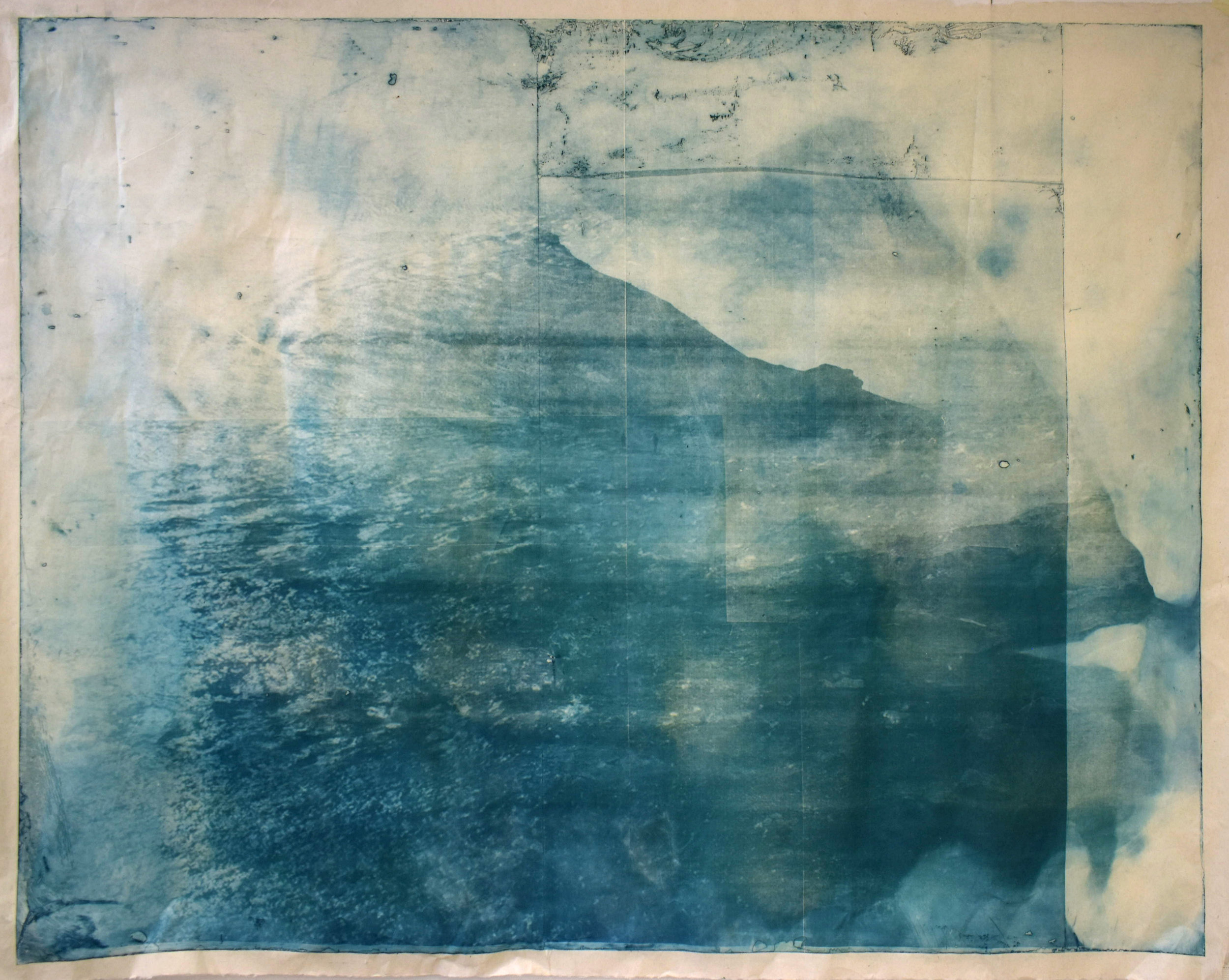 Over and Under (Whirlpool),  No. 3, 2019, series of 9 photopolymer prints (from Prussian blue to orange oxide) printed on semi-transparent Thai paper. 137 x 109cm. Superposition of 2 photographs taken by the artist: fumerole pits in Námafjall, Iceland and a whirlpool off the Cap Fréhel, France.