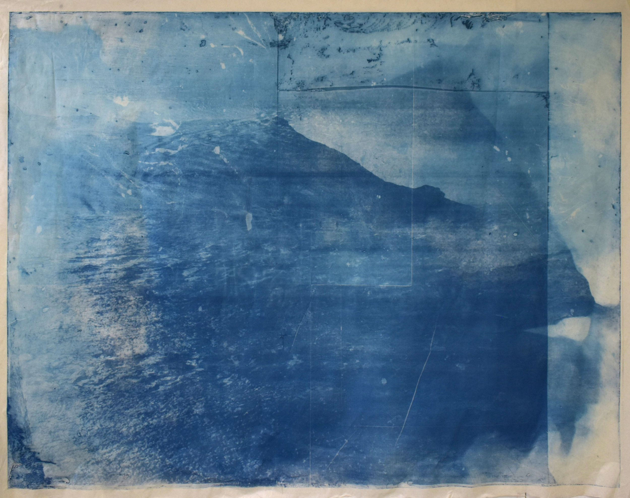 Over and Under (Whirlpool),  No. 5, 2019, series of 9 photopolymer prints (from Prussian blue to orange oxide) printed on semi-transparent Thai paper. 137 x 109cm. Superposition of 2 photographs taken by the artist: fumerole pits in Námafjall, Iceland and a whirlpool off the Cap Fréhel, France.