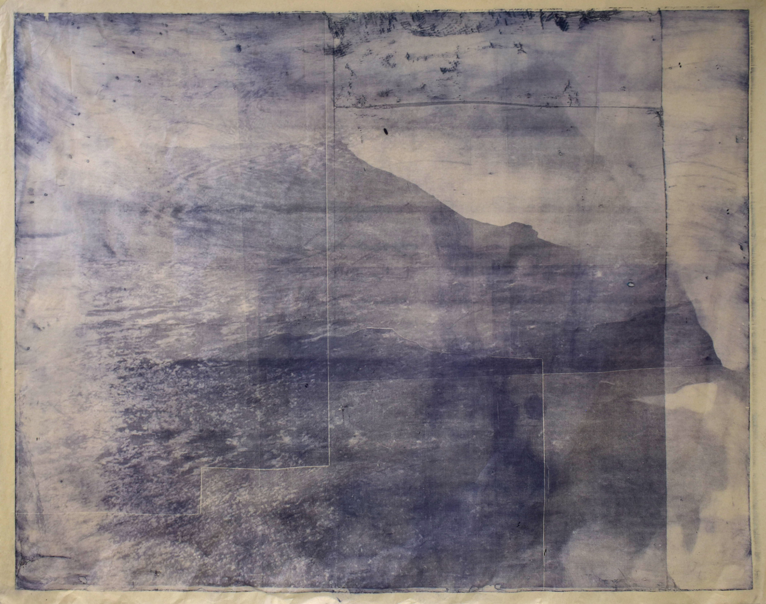 Over and Under (Whirlpool),  No. 7, 2019. Series of 9 photopolymer prints (from Prussian blue to orange oxide) printed on semi-transparent Thai paper. 137 x 109cm.. Superposition of 2 photographs taken by the artist: fumerole pits in Námafjall, Iceland and a whirlpool off the Cap Fréhel, France.