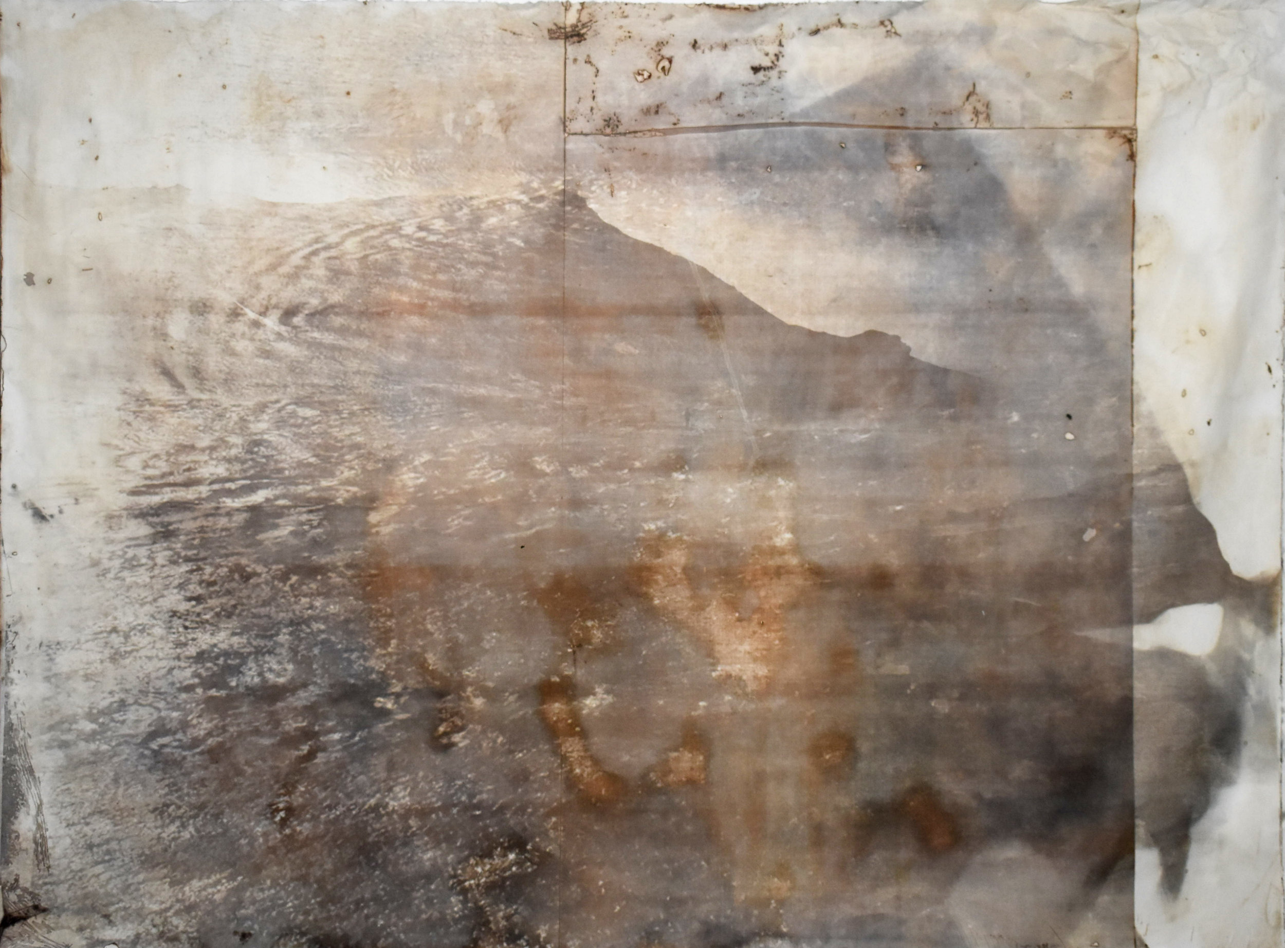 Over and Under (Whirlpool),  No. 10, 2019. Series of 9 photopolymer prints (from Prussian blue to orange oxide) printed on semi-transparent Thai paper. 137 x 109cm.. Superposition of 2 photographs taken by the artist: fumerole pits in Námafjall, Iceland and a whirlpool off the Cap Fréhel, France.