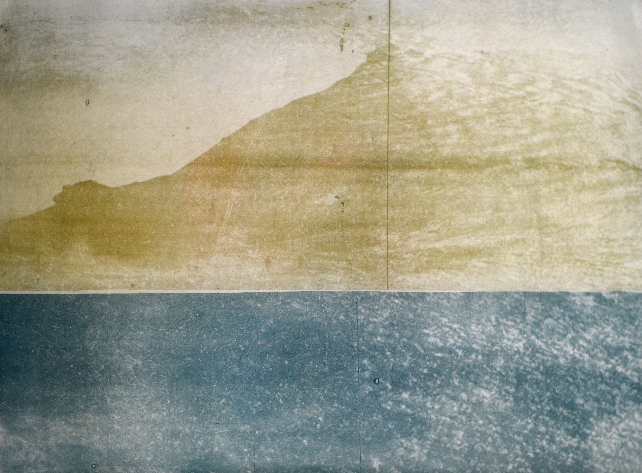 Over and Under (Whirlpool),  No. 12, 2019. Series of 9 photopolymer prints (from Prussian blue to orange oxide) printed on semi-transparent banana paper. 75 x 55cm.. Superposition of 2 photographs taken by the artist: fumerole pits in Námafjall, Iceland and a whirlpool off the Cap Fréhel, France.