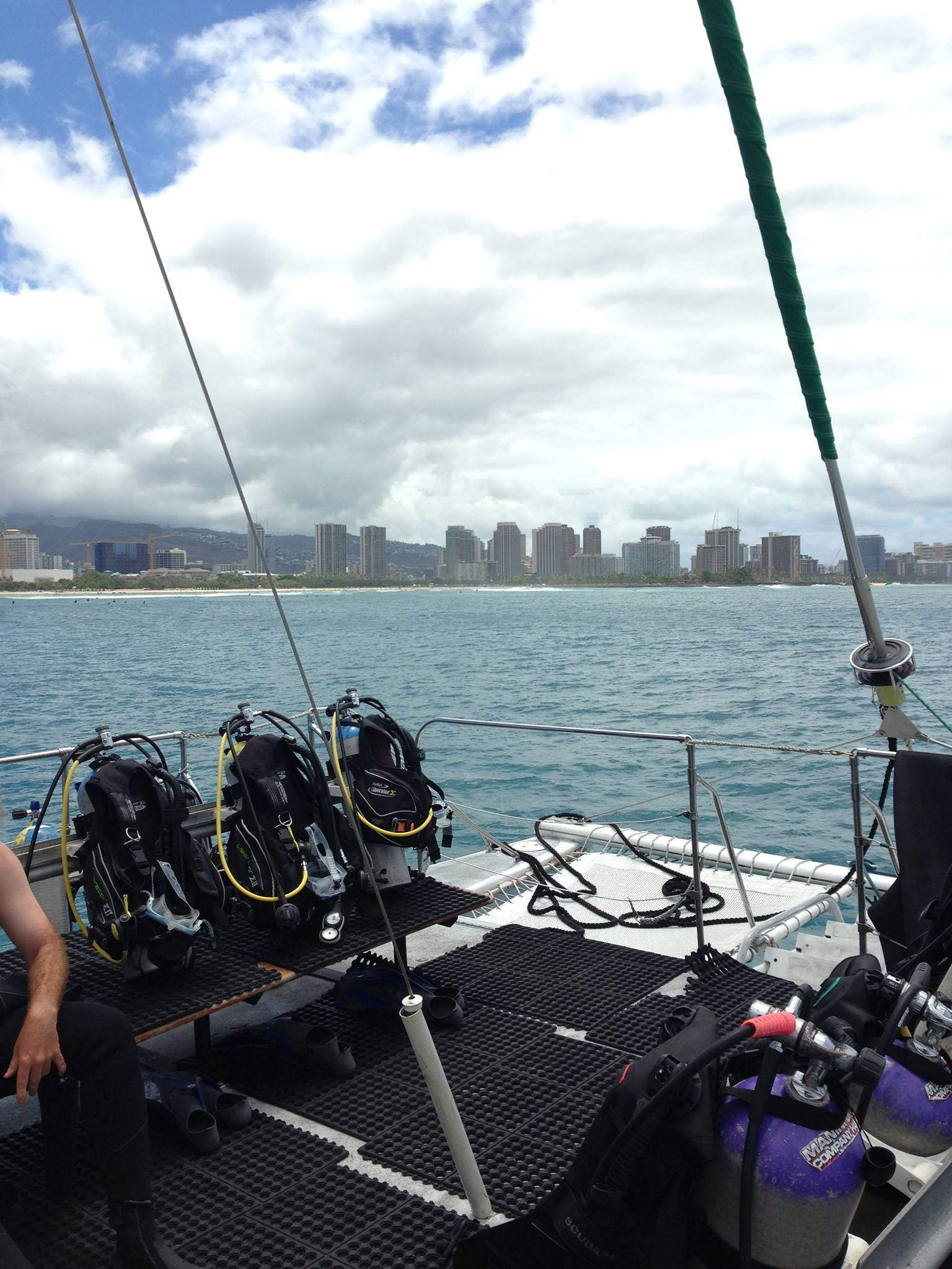 The back of the boat with our equipment