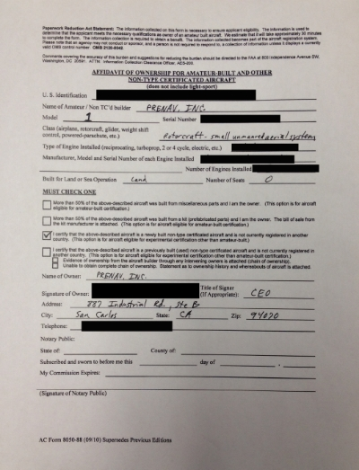 AC Form 8050-88 Affidavit of Ownership for Amateur-built and other non-type certificated aircraft
