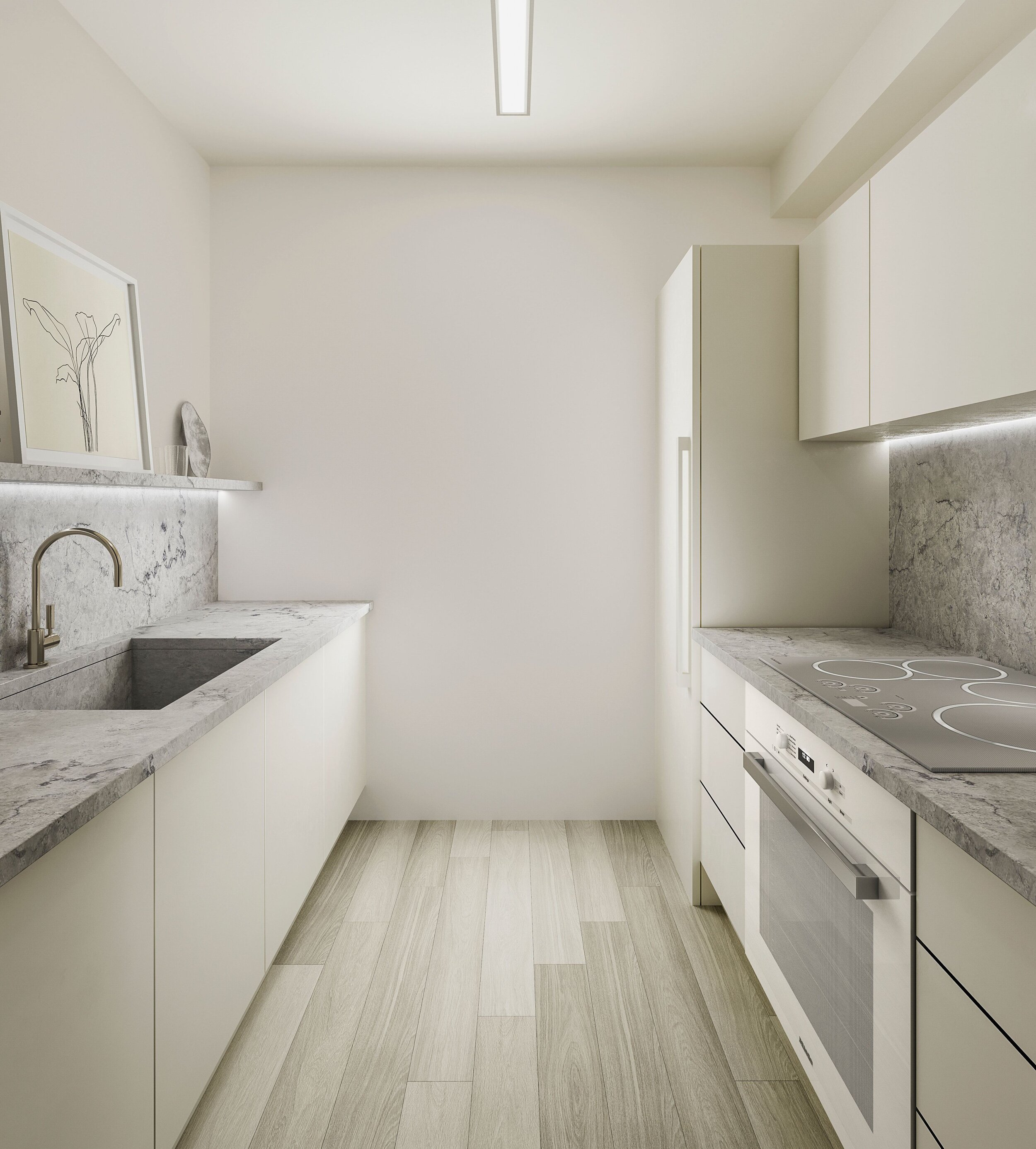A rendering of the kitchen redesign in our 25 Columbus Circle project with limestone countertops and sink.