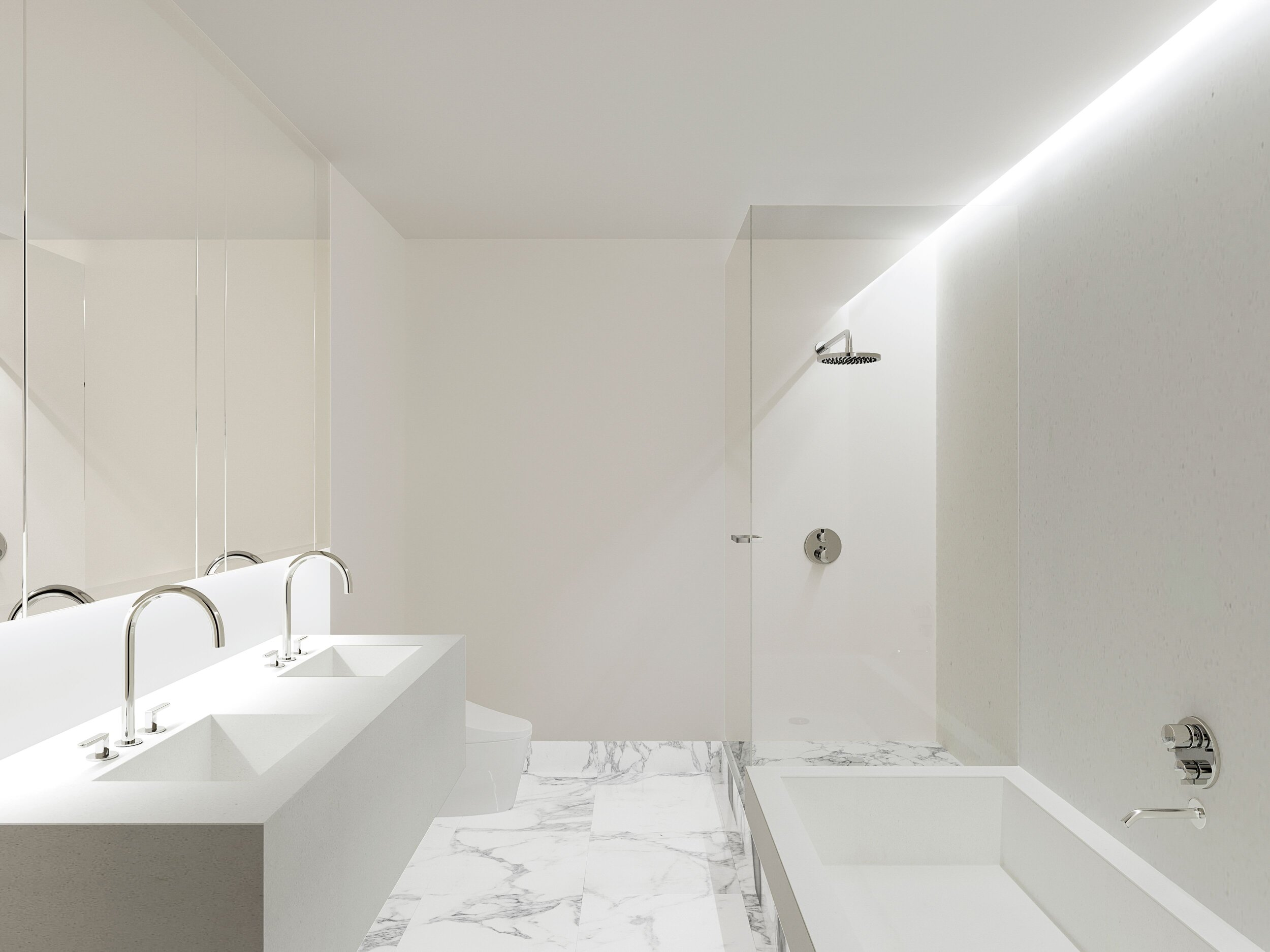 A rendering of the Master Bathroom redesign in our 25 Columbus Circle project with tadelakt plaster walls and calacatta marble flooring.
