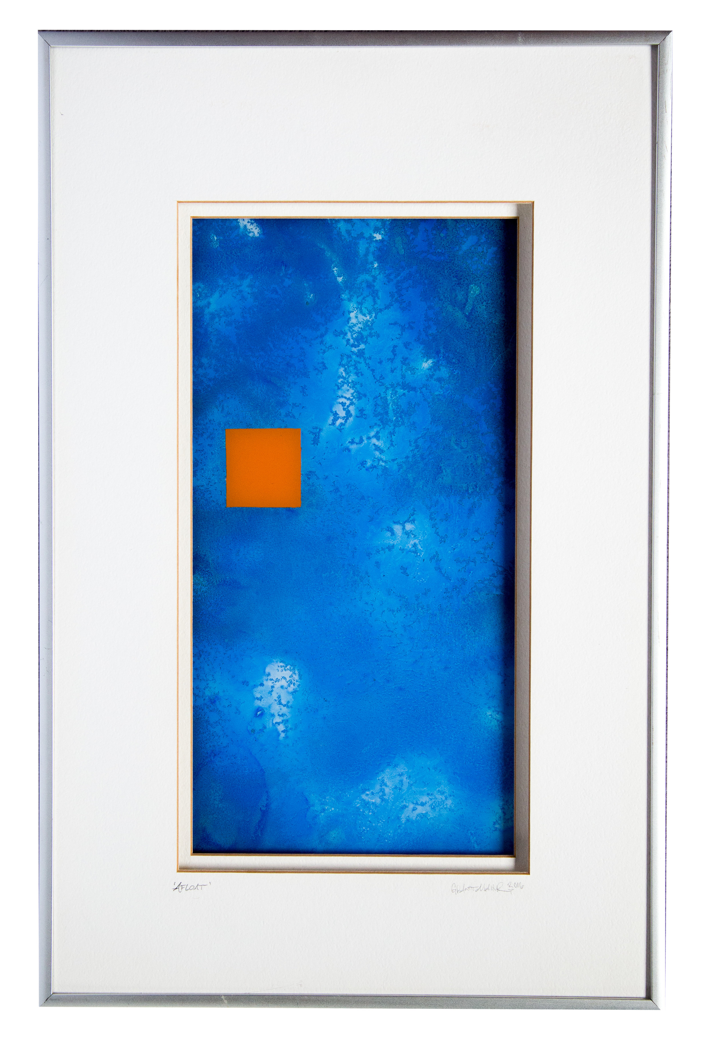 "Afloat | 13""x20""  Acrylic and Spray paint on glass/framed  NFS"
