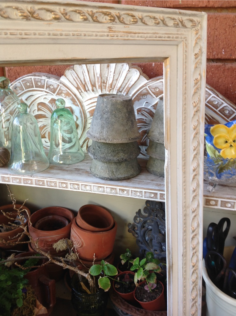 Another Old Frame juxtaposed amongst pots & plants on my Potting Bench....