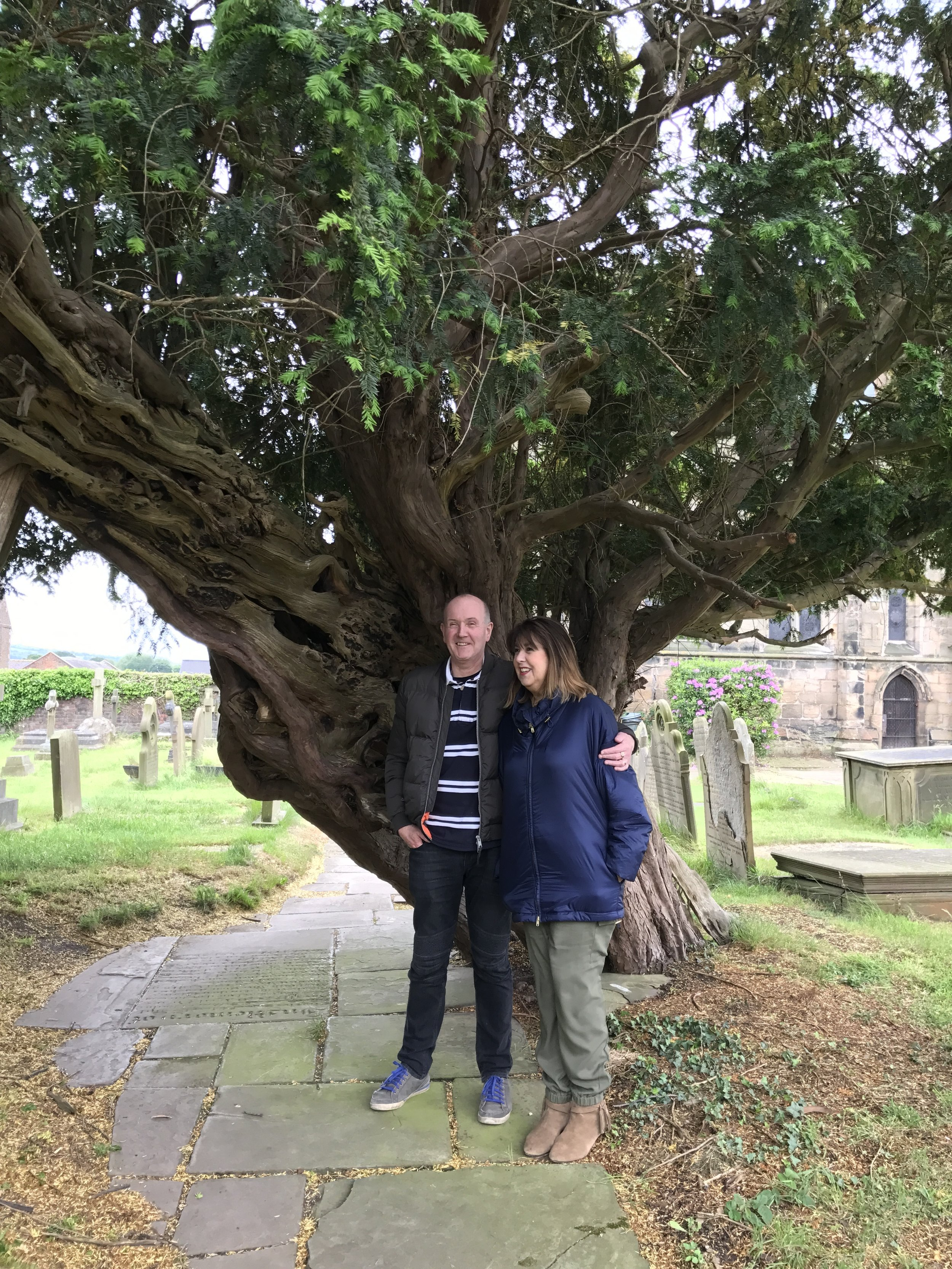 Veronica & David standing under a Yew tree (the tree that Bow & Arrows are made of). I first met Veronica 6yrs ago at a Healing School in Southhampton.