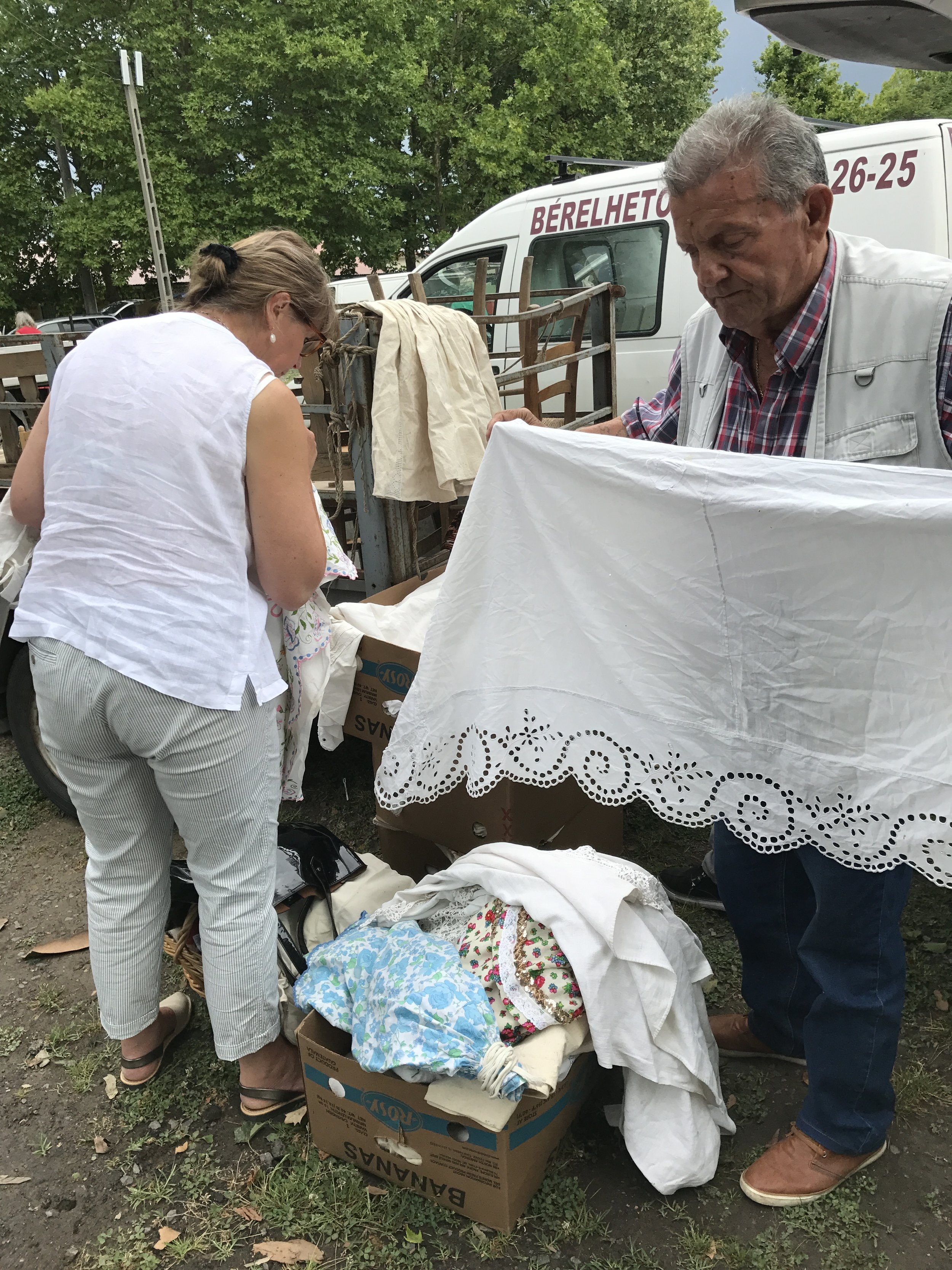 Sorting through mounds of old linen