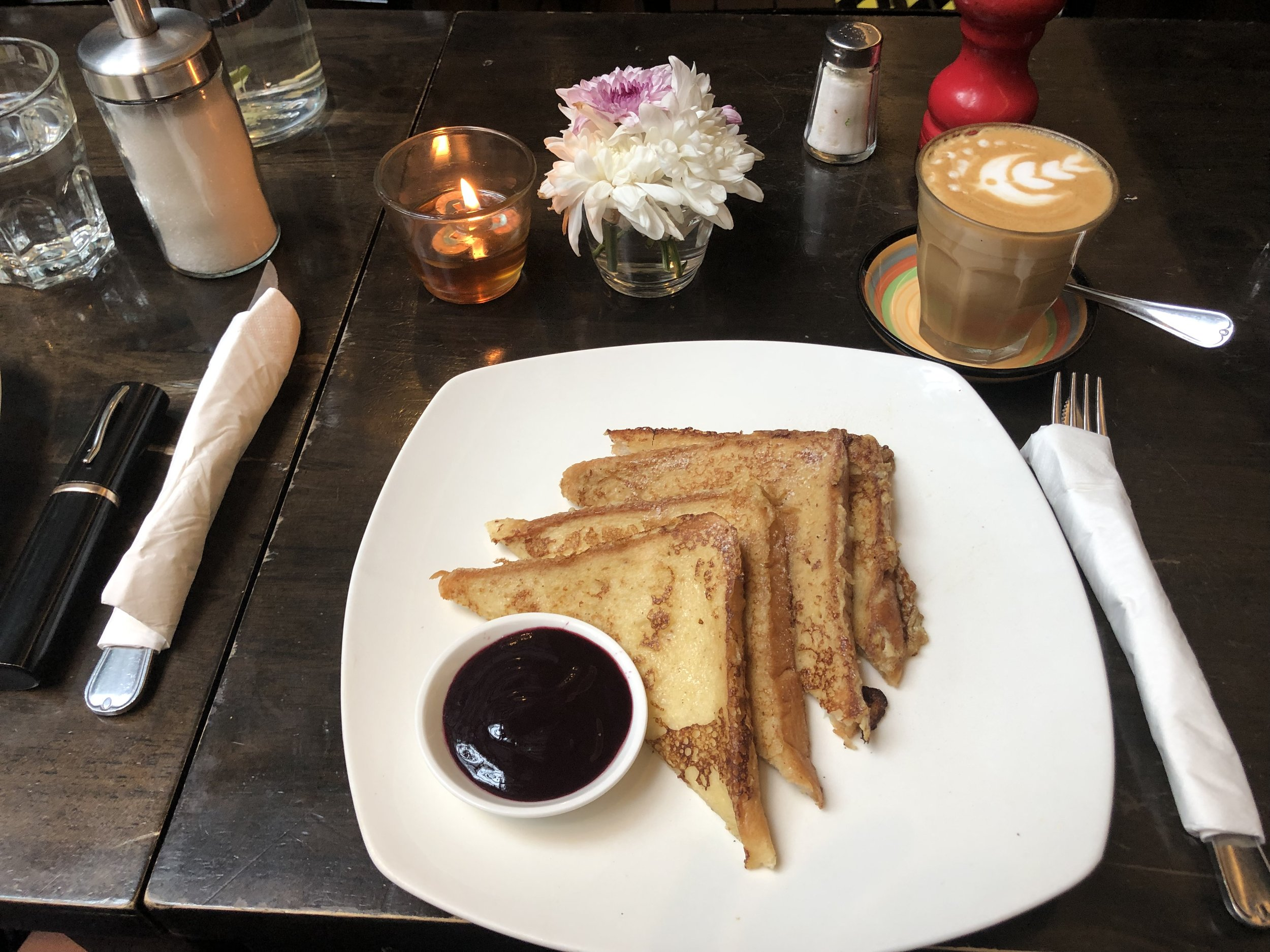 French Toast with a mini fruit compote & mascarpone on the way along with clever coffee art ...