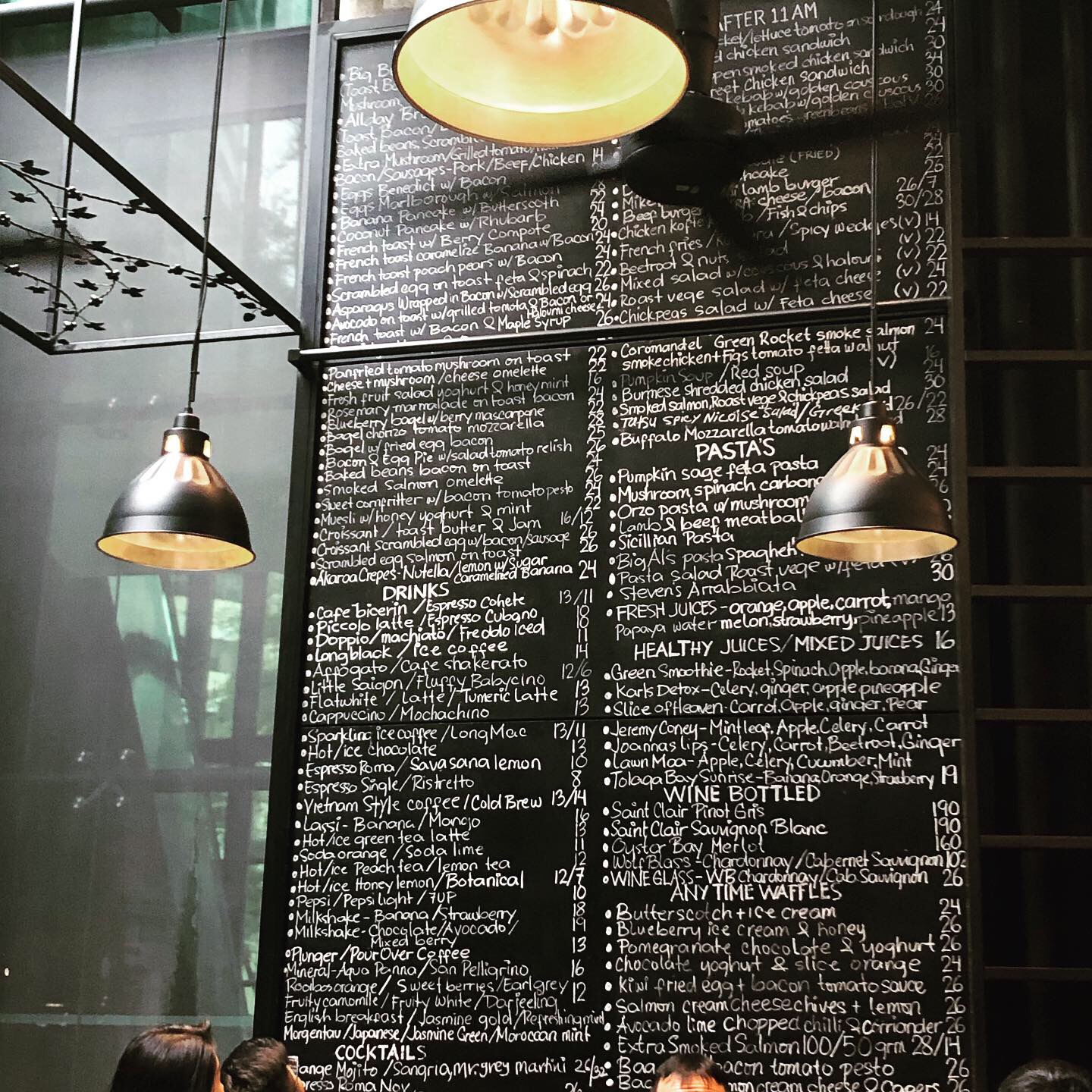 The Menu at the Antipodean Cafe was handwritten on a wall board which creates part of the ambience ...