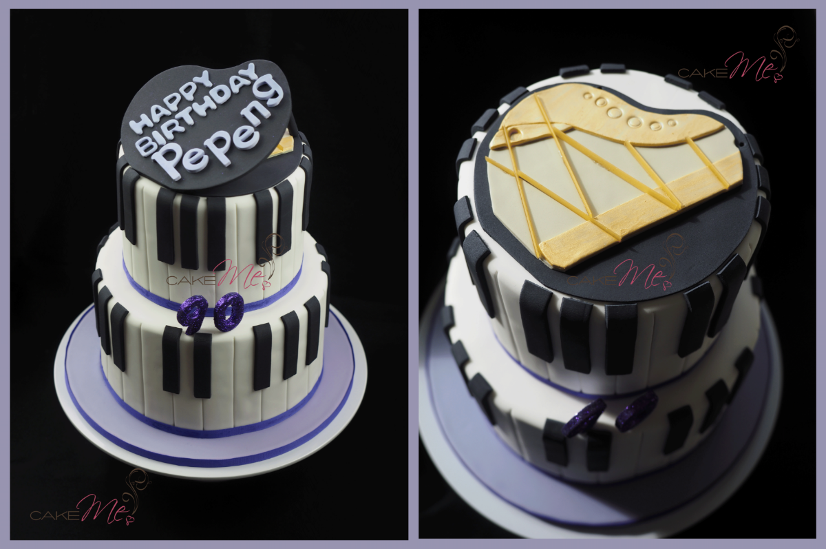 "The piano-themed cake for a grandmother who is affectionately known as ""Pepeng"", and the top of the piano with the lid off."