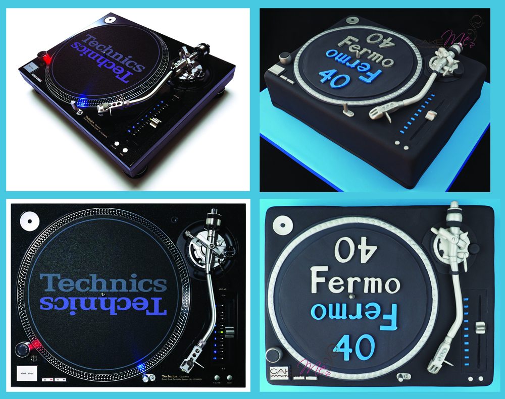 "Images of the Technics Direct Drive Turntable System and our ""Fermo"" cake, based on the Technics Turntable"