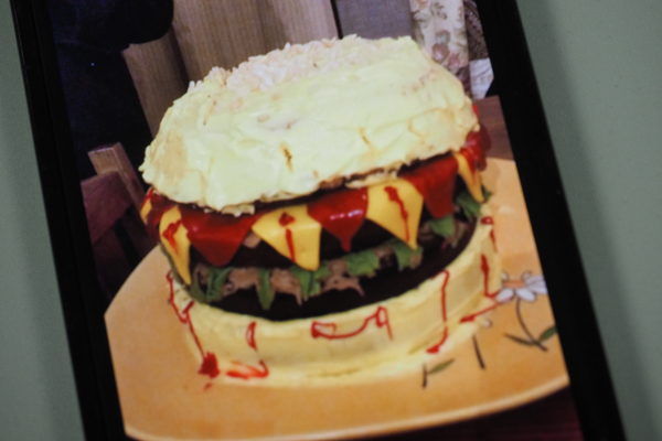 A photo taken of the incredible hamburger cake hat an eight year old student created (photo courtesy of the child's mum)