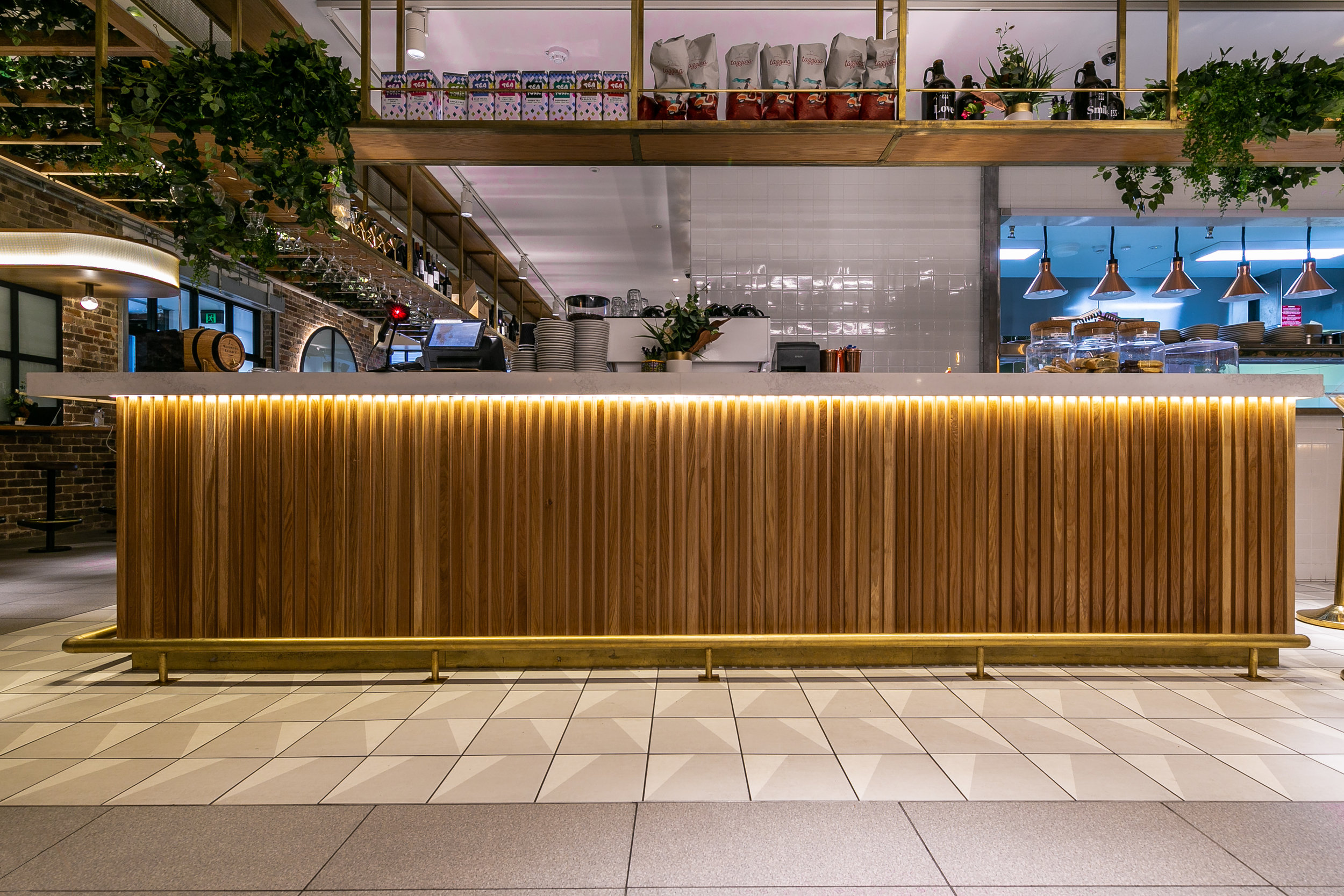 Main bar, wood and brass fittings