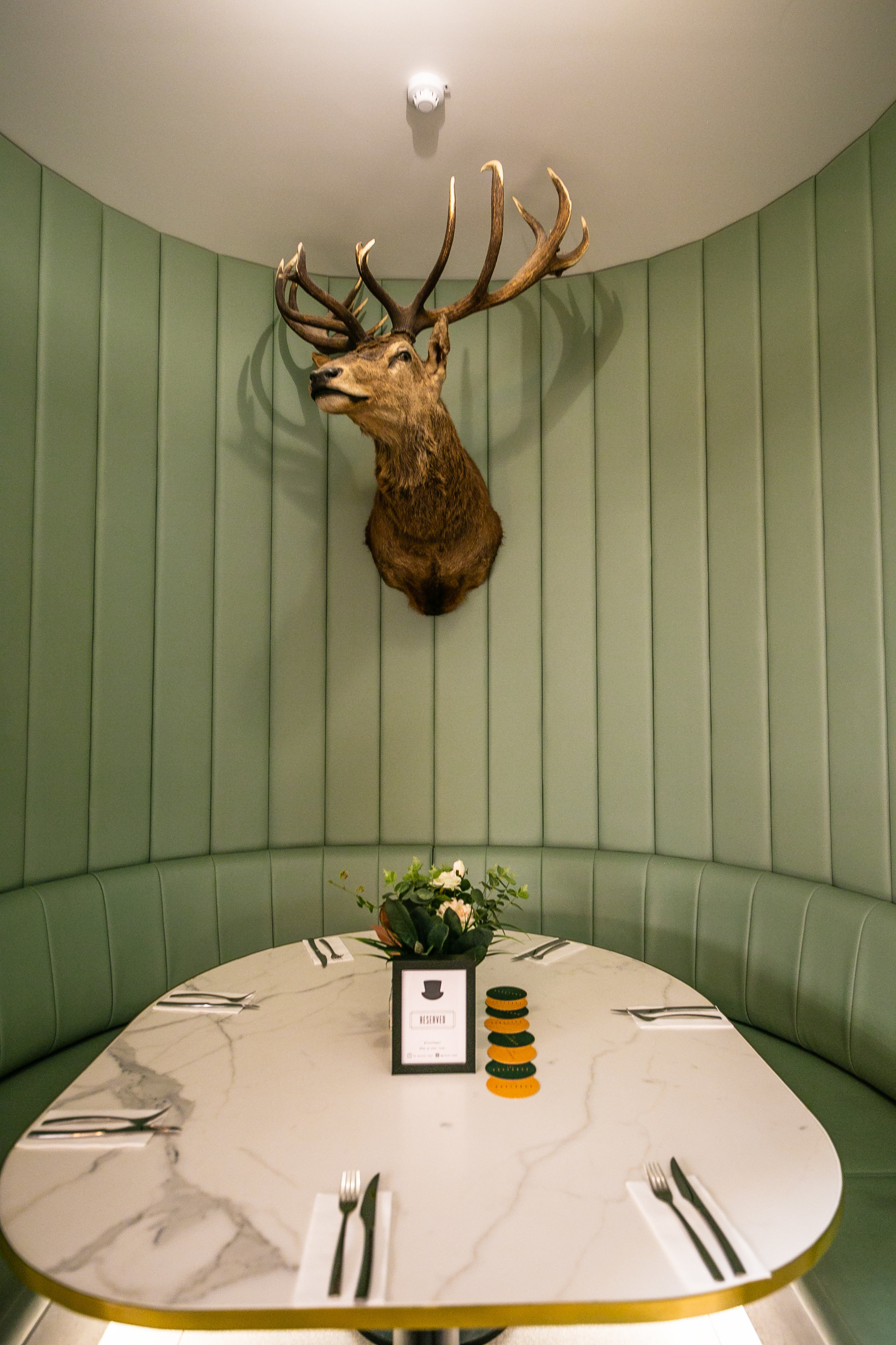 Loved these funky private booths with wildlife