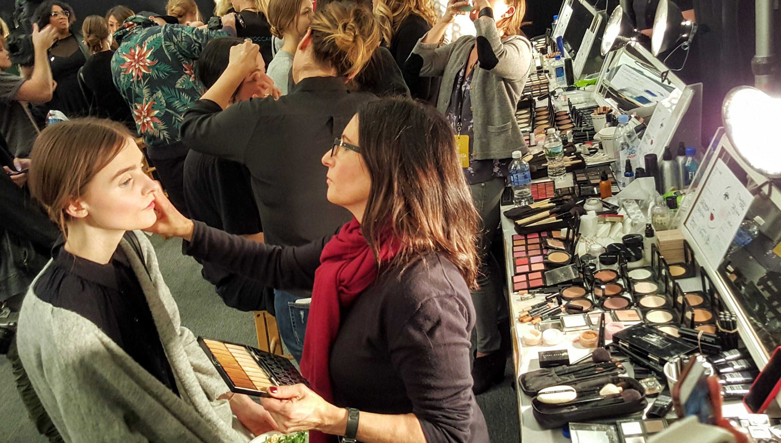 Ms. Brown, applying the very soft make-up look on one of the Marchesa models - so exciting!