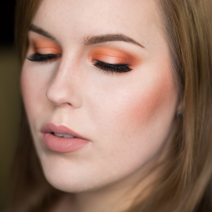 Orange Halo Eyes and Matte Nude Lips Look