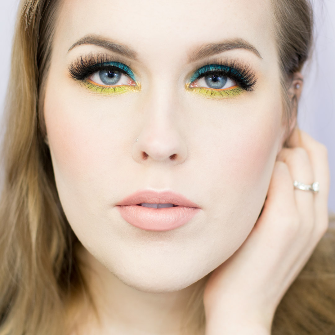Colorful Teal and Acid Green Makeup Tutorial