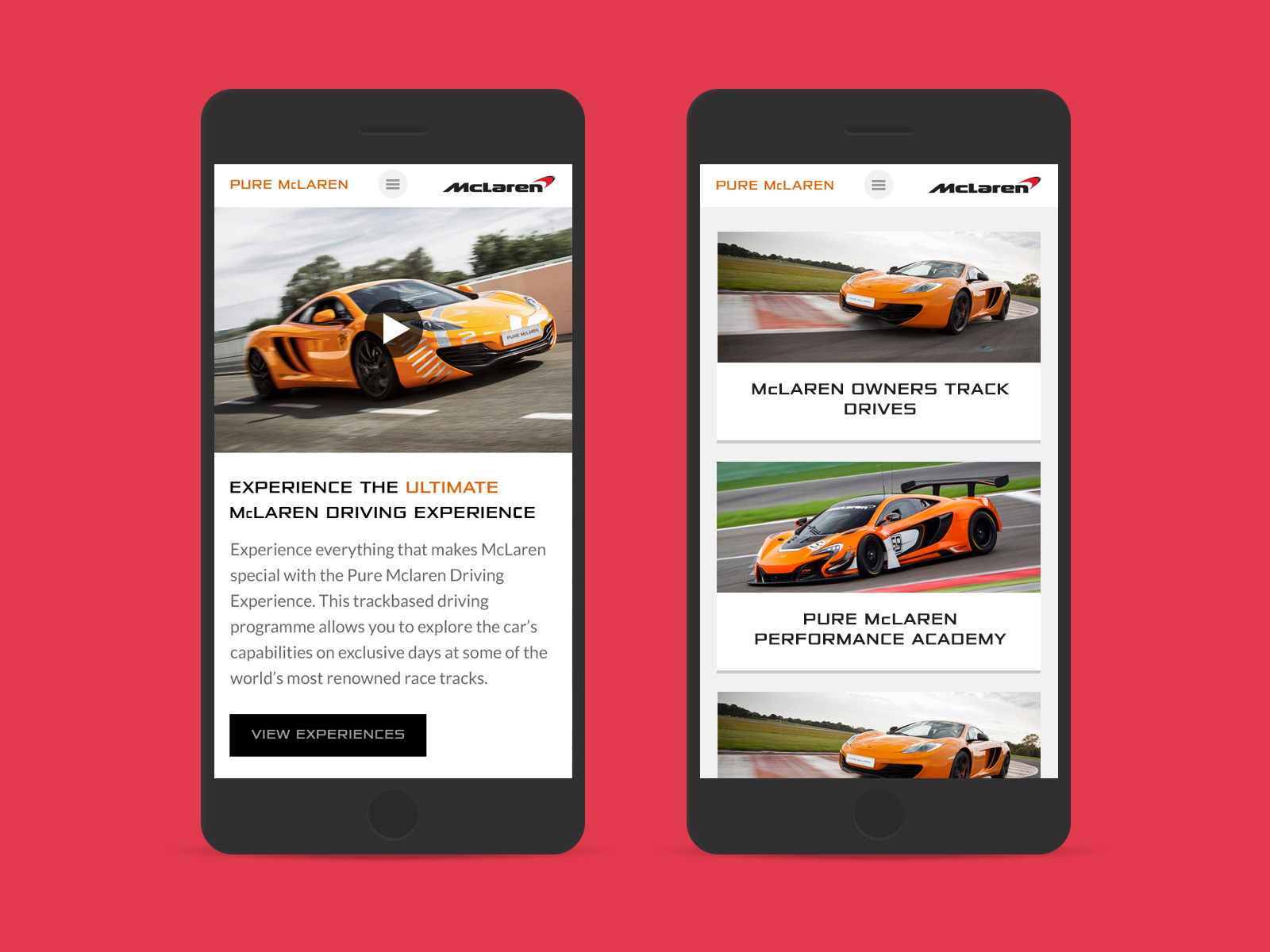 Responsive mobile site home page for Pure McLaren