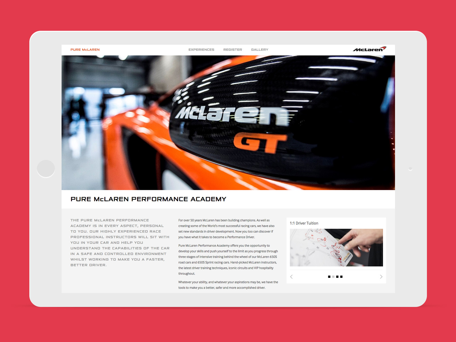 Pure McLaren experiences detail page