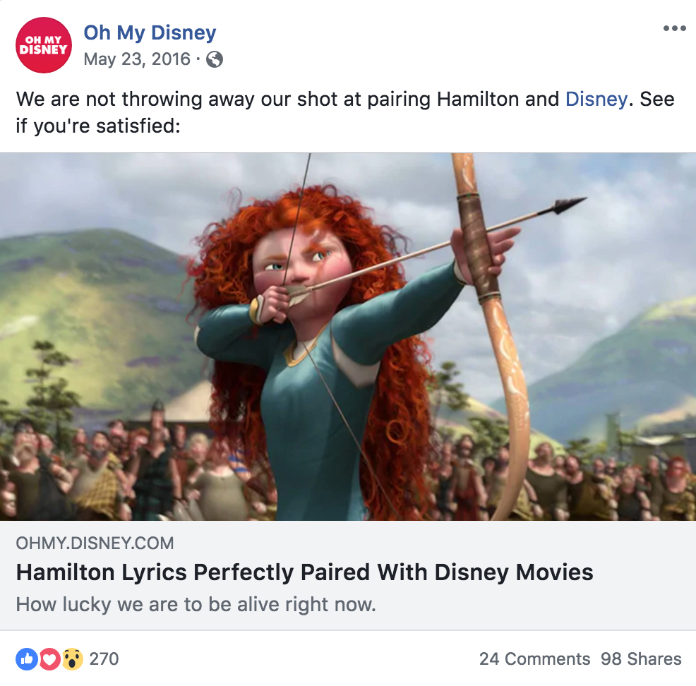 A Facebook post for an article I wrote that mashed up  Hamilton  and Disney movies. See  the full article here .