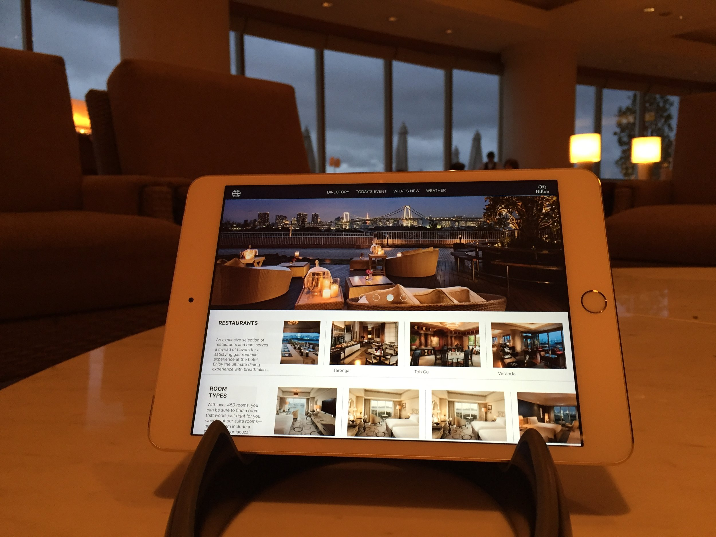 Maikai's custom enterprise mobile application for Hilton Tokyo Odaiba.