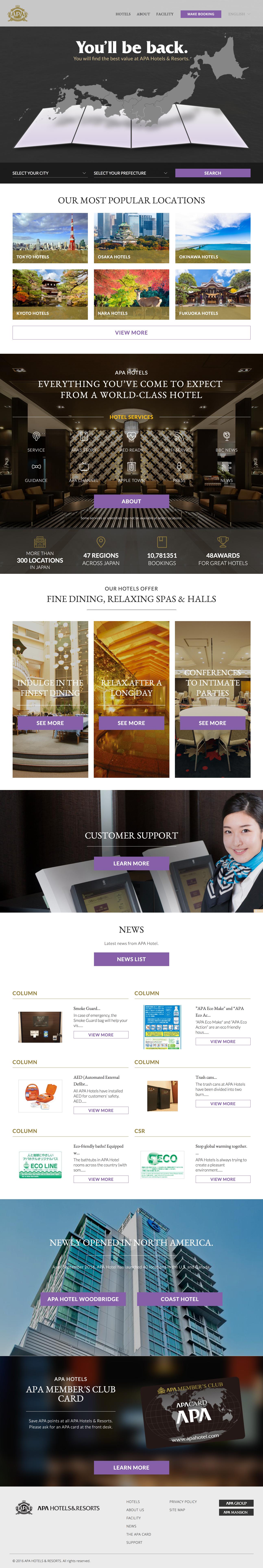 Design samples for APA hotel's international presence.