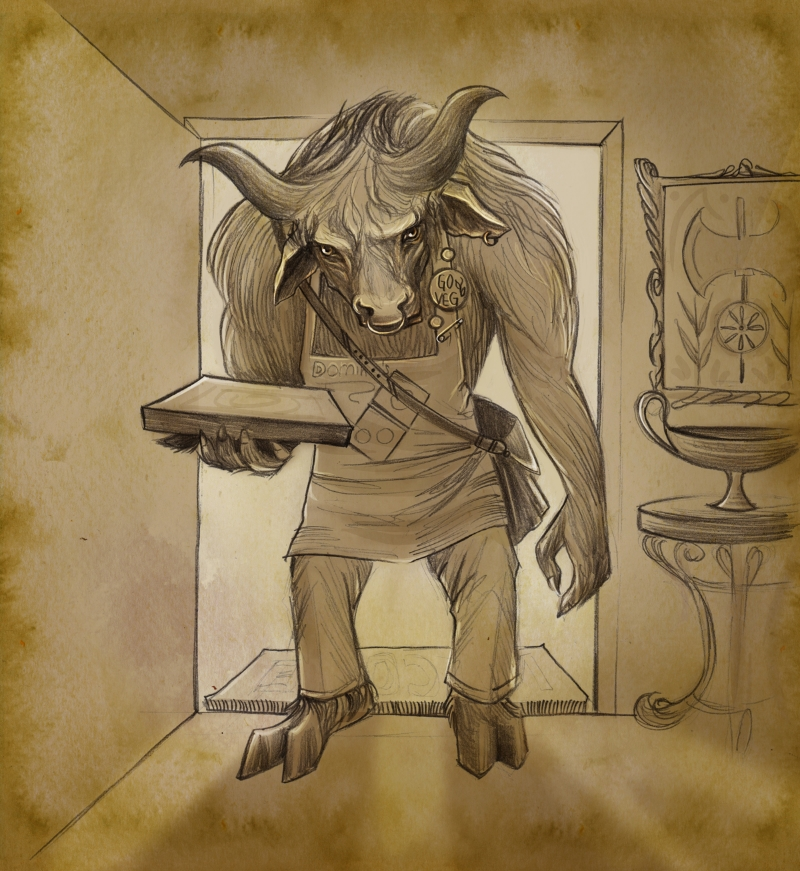 Before the gods left, I was guarding the entrance to Minos's labyrinth. Now that they're gone, I deliver pizza.