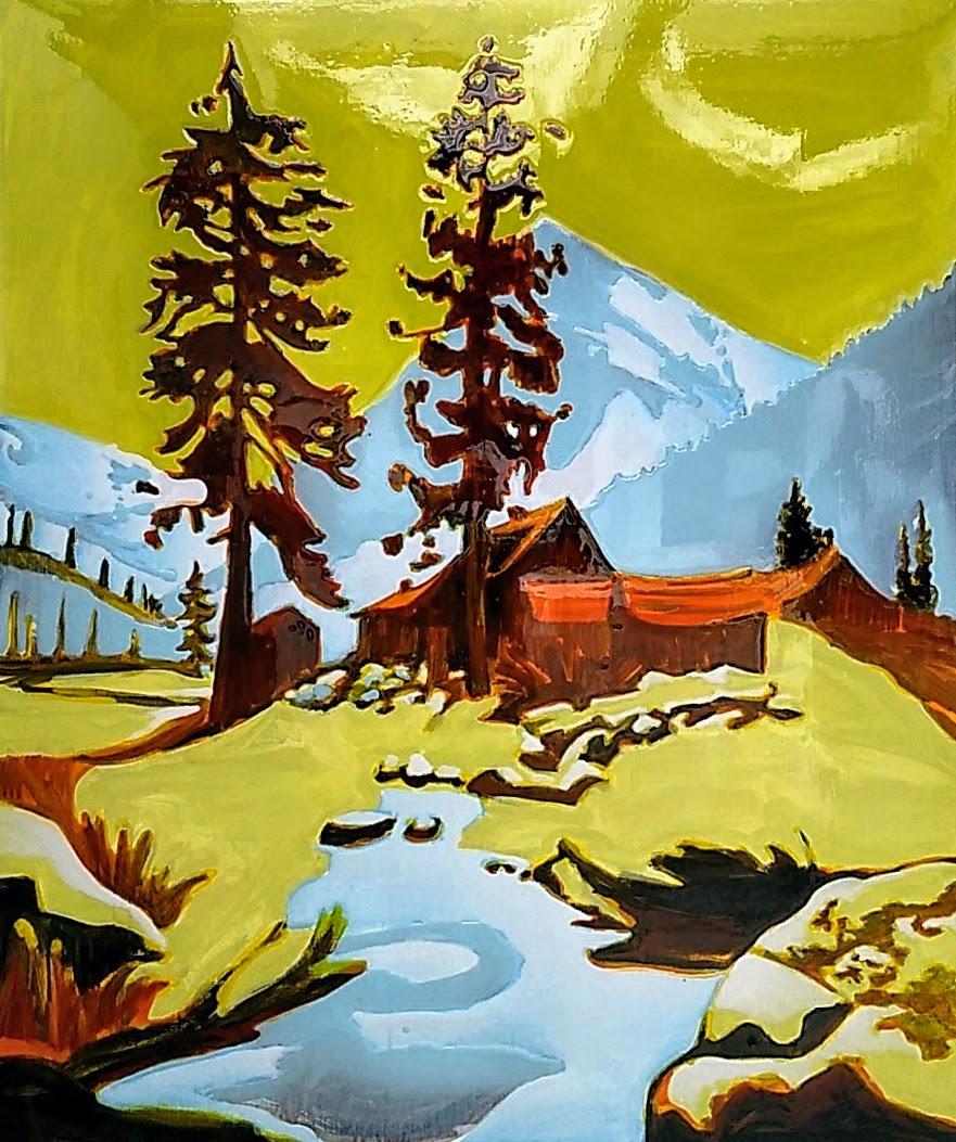 SNOWY FAREWELL GAP  120x100 cm Acrylic and epoxy on canvas