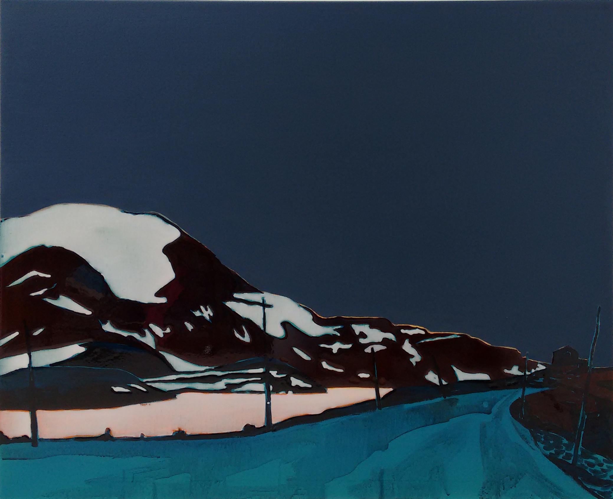 SOGNEFJELLSVEGEN 1  120x100 cm acrylic and epoxy on canvas  Sold