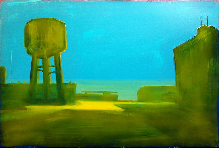 DOKWEG, IJMUIDEN  80X120 cm acrylic and epoxy on canvas  Sold
