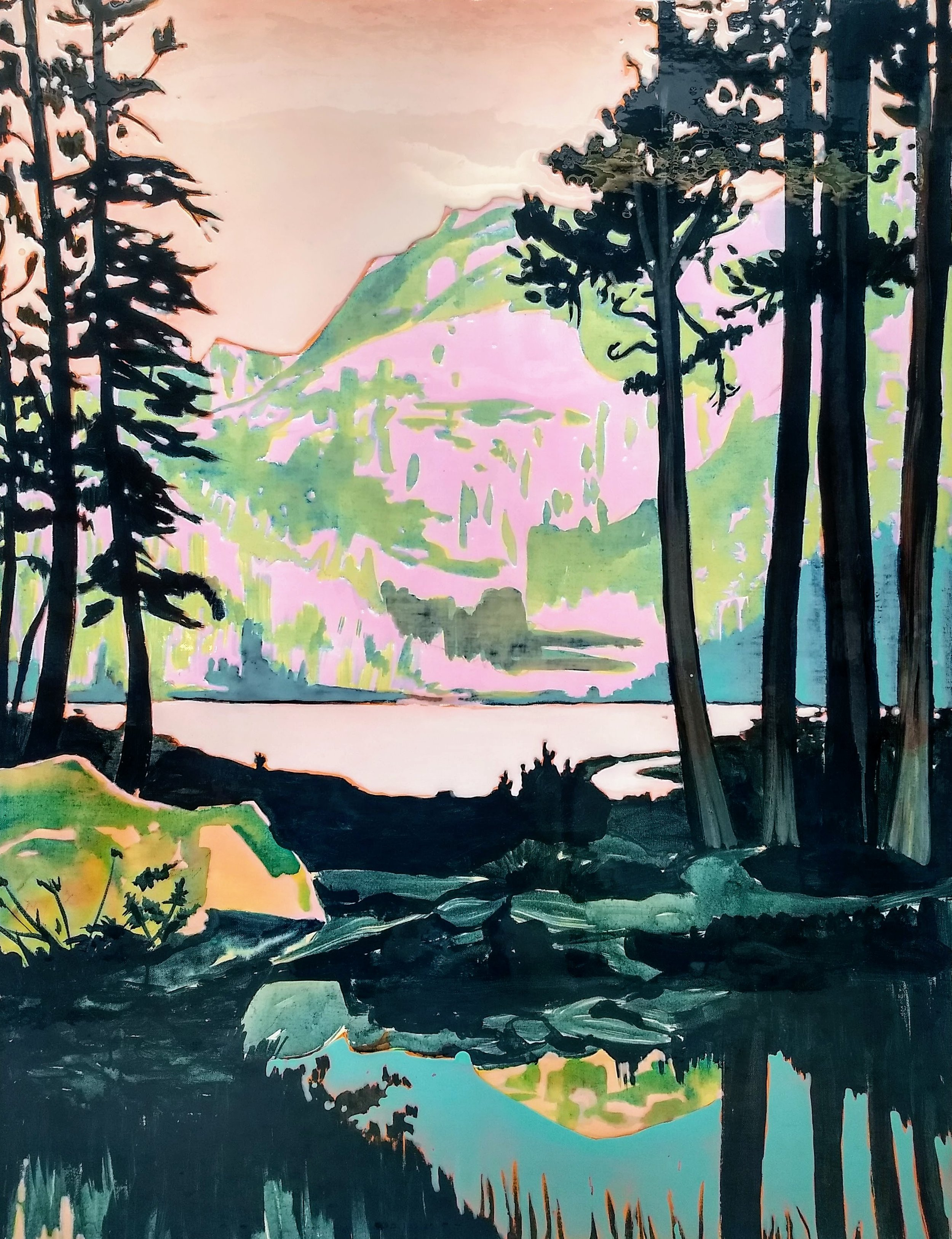 LAKE IN THE AREA MAMMOTH  130x100 cm Acrylic and epoxy on canvas  Sold