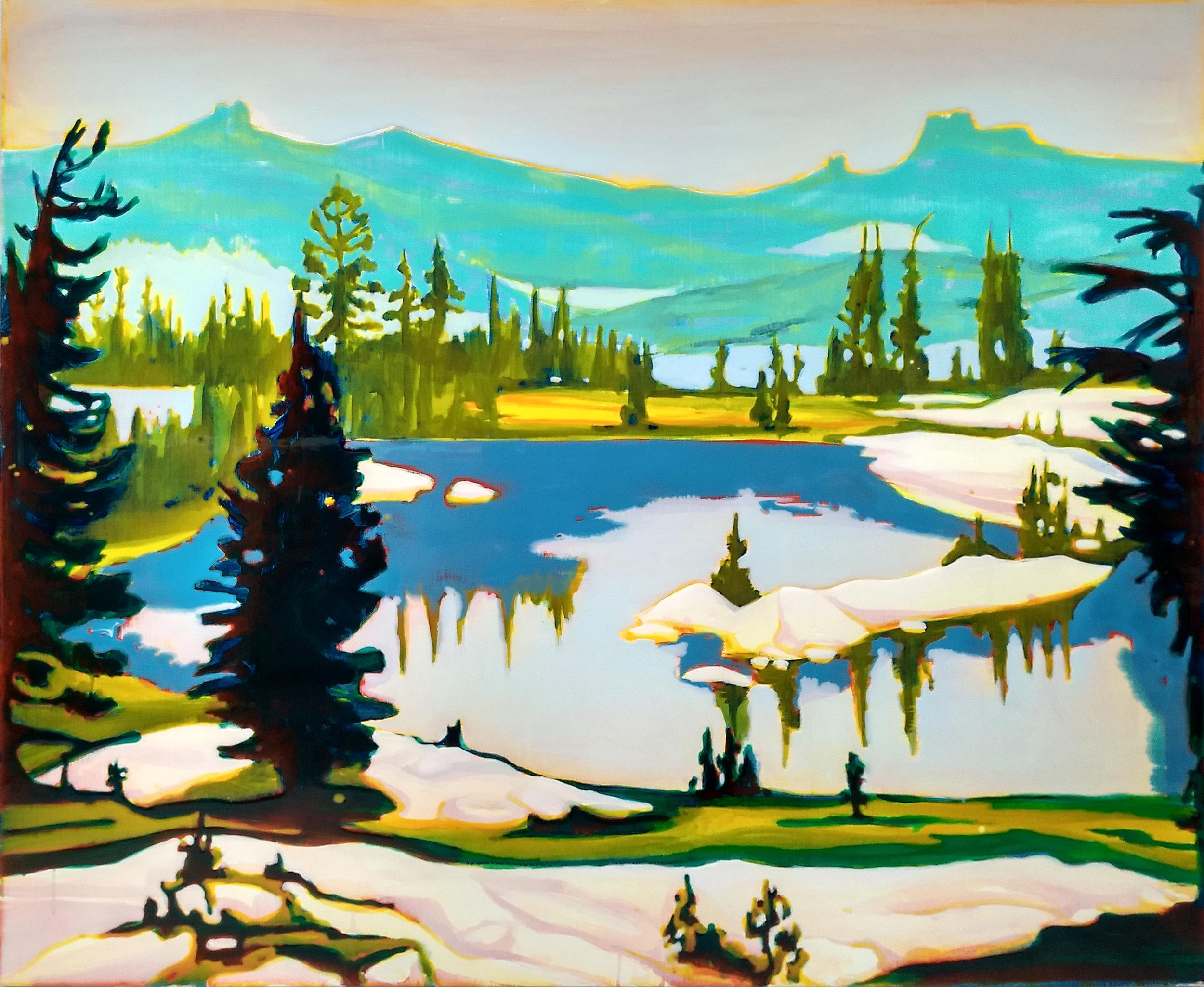LAKE SIERRA NEVADA  100x120 cm epoxy on canvas  Sold