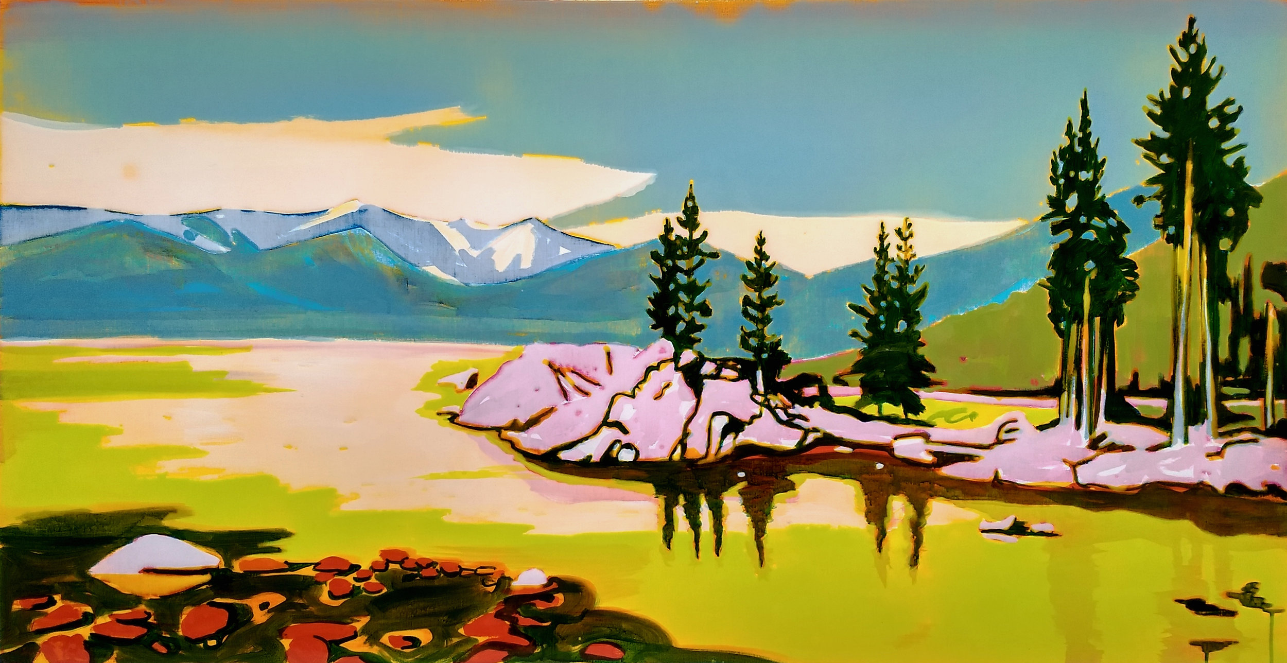 LAKE TAHOE  70 X 140 cm epoxy on canvas
