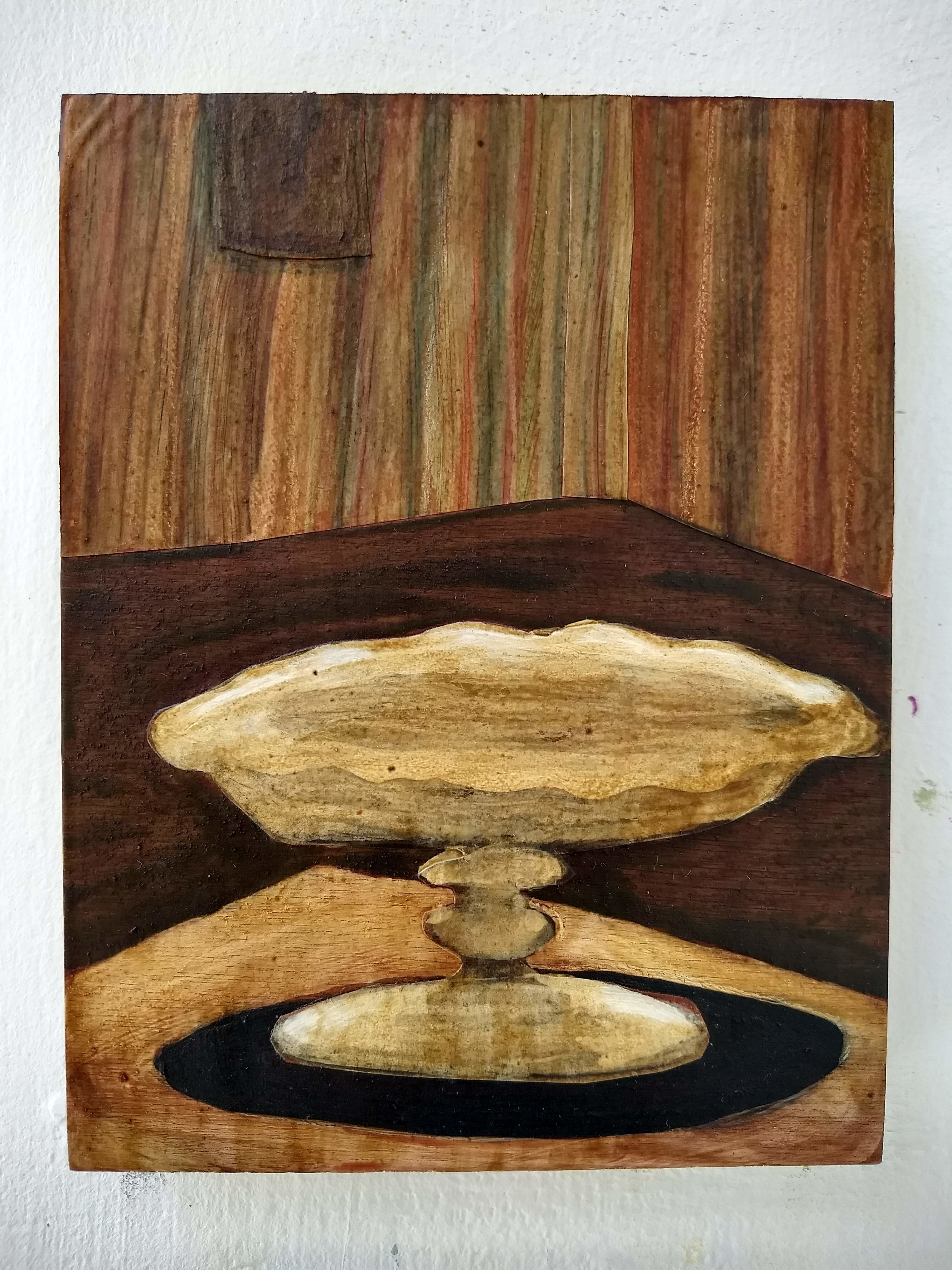 混合技術在木頭上 13 x 17 cm