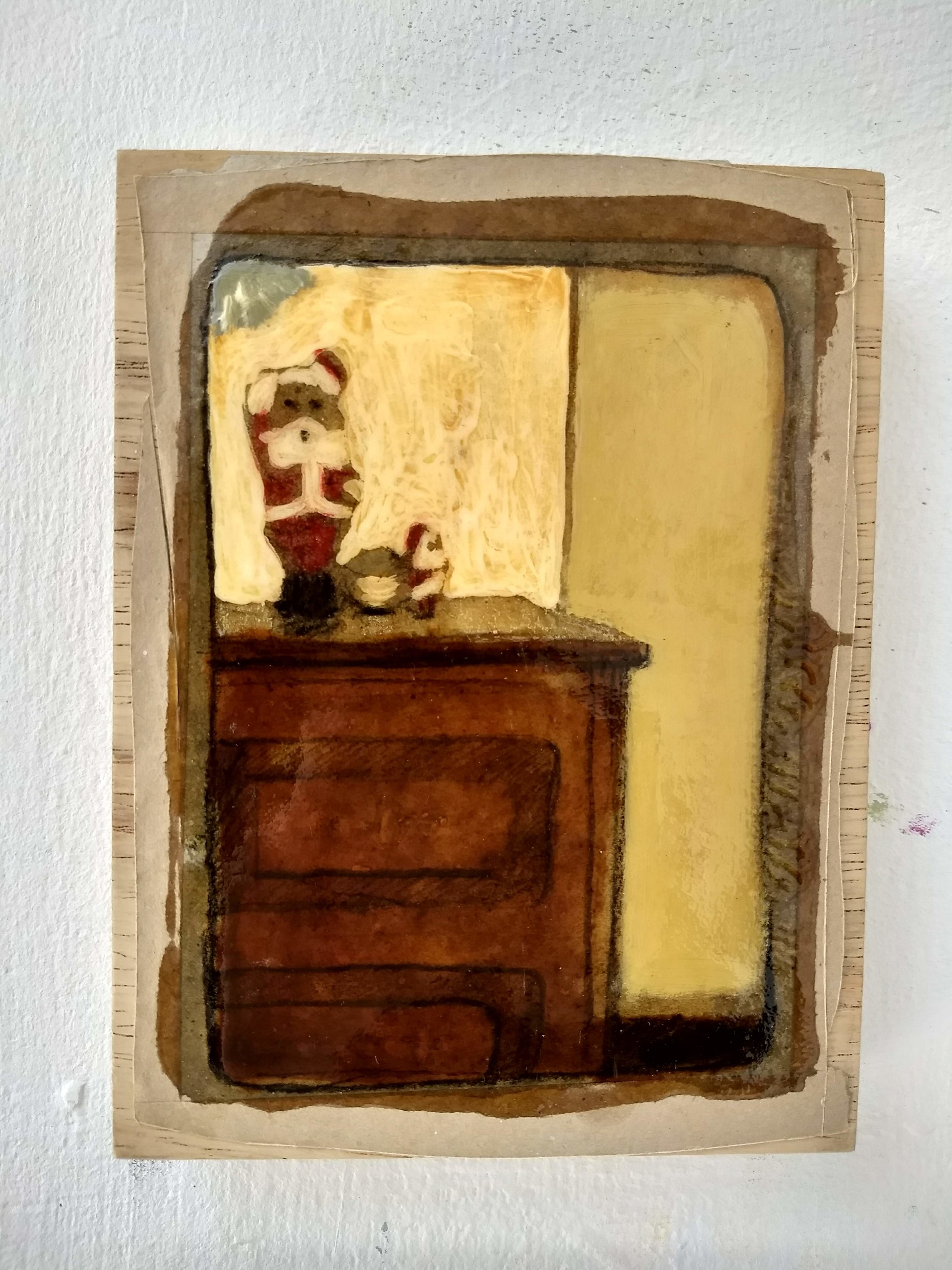 Work on wood  13x17 cm Mixed media
